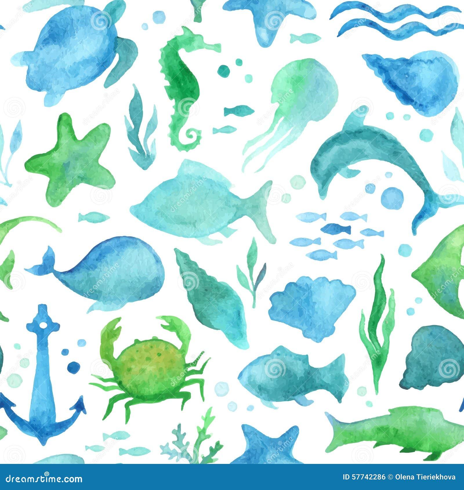 无缝的水彩海洋生活样式