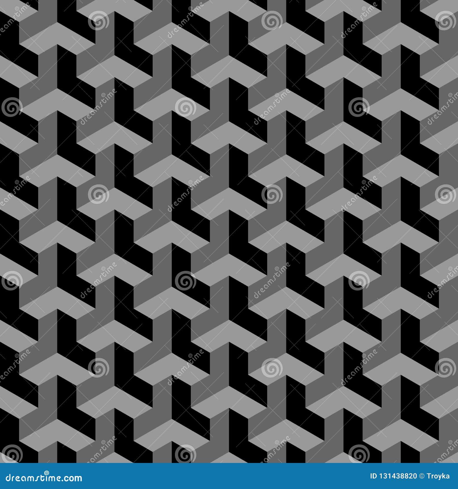 无缝的3d几何样式 光学的幻觉 黑和灰色几何背景和纹理