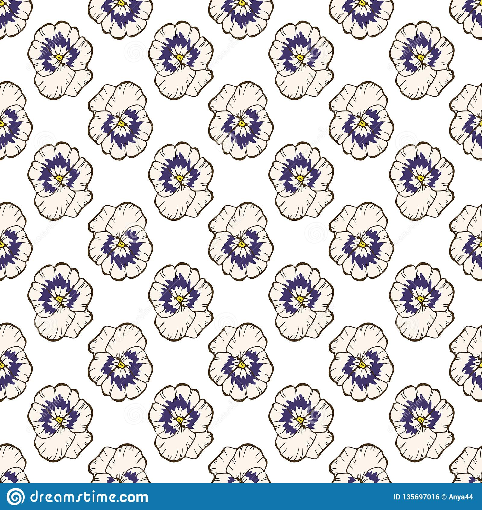 无缝花卉的模式 在白色的美丽的蝴蝶花花蕾 抽象手拉的传染媒介背景