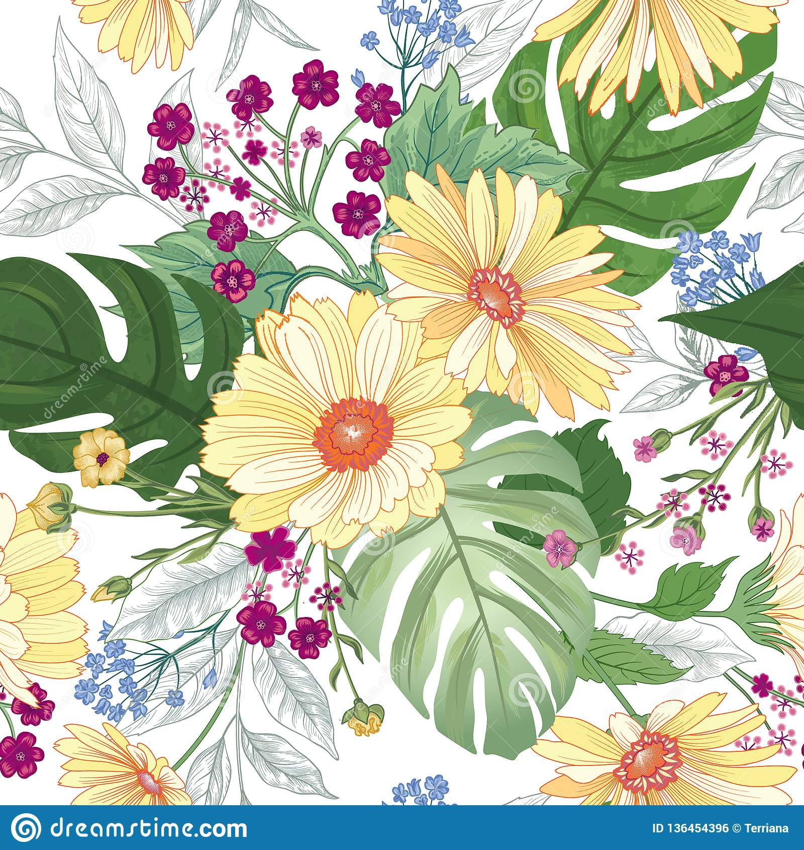 无缝花卉的模式 庭院花夏天背景