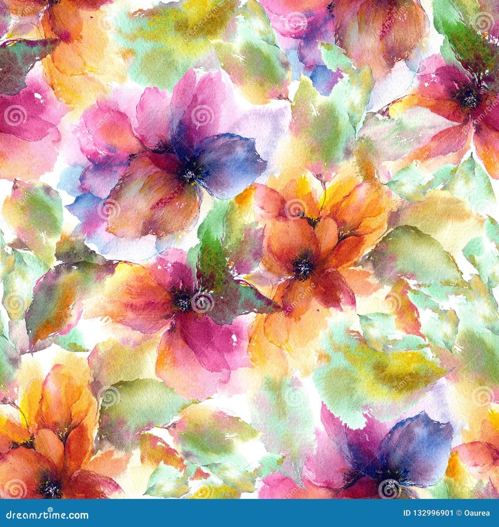 无缝花卉的模式 水彩开花背景 五颜六色的花