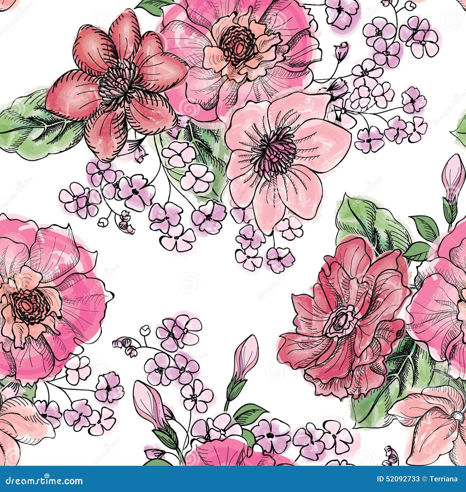 无缝花卉的模式 花花束背景