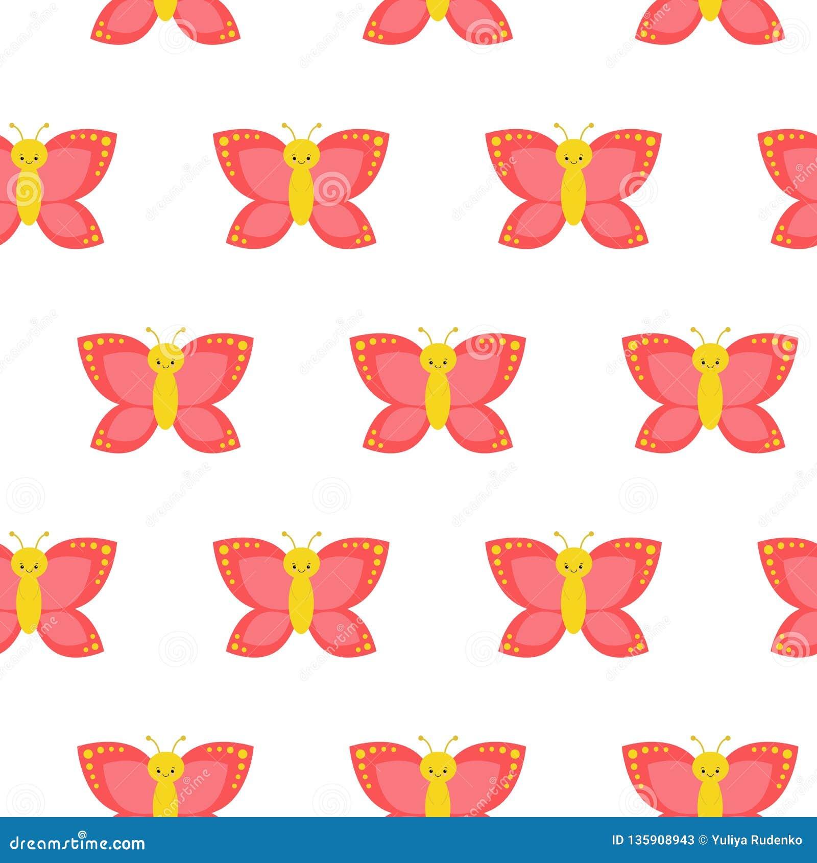 无缝蝴蝶的模式 完善在墙纸、礼物纸、样式积土、网页背景、春天和夏天