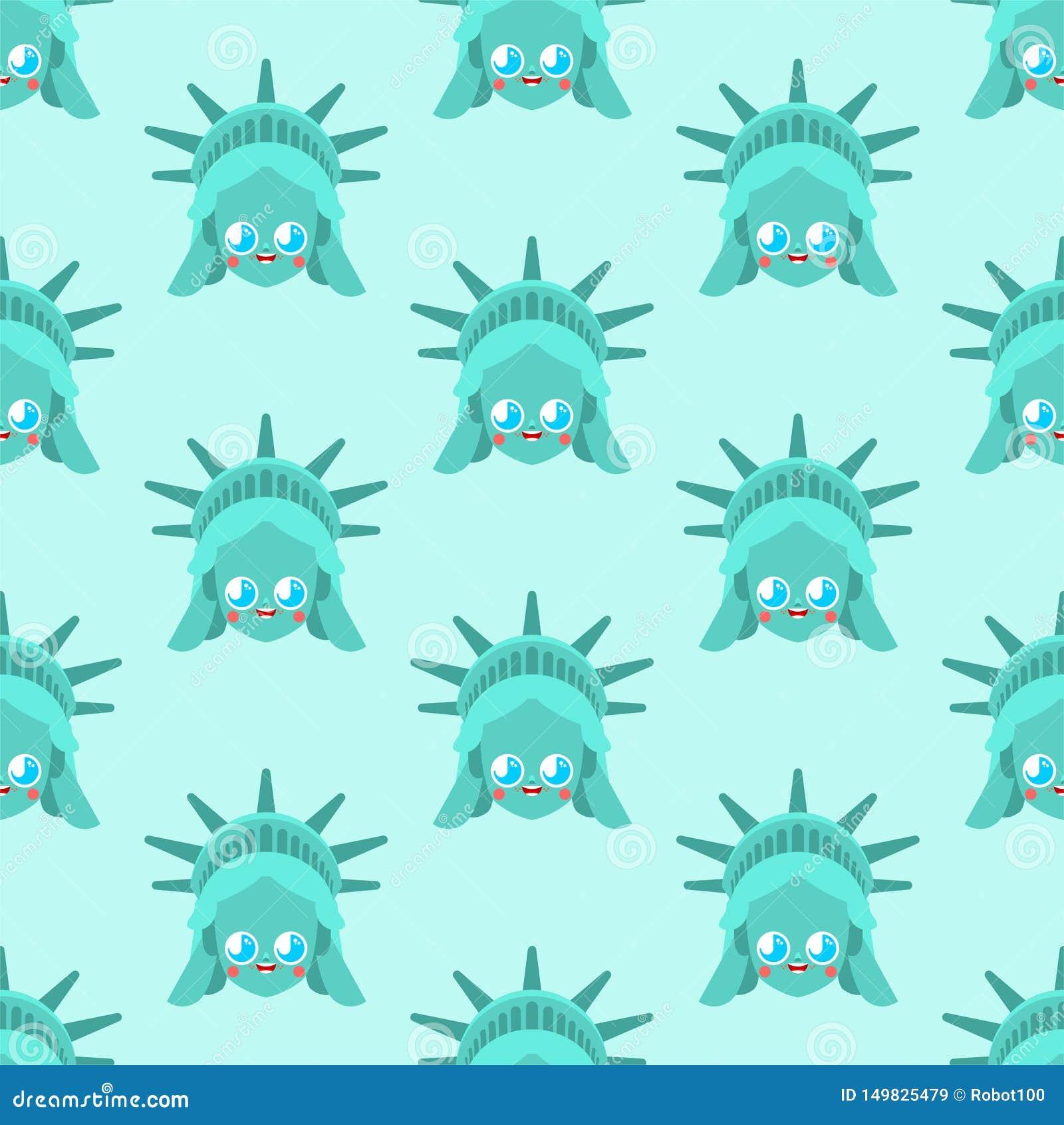 无缝逗人喜爱的自由女神像的样式 滑稽的地标美国样式 孩子字符美国是标志 儿童的样式