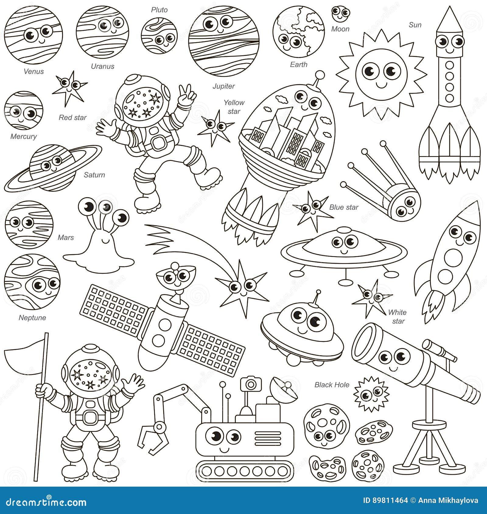 无色的空间孩子集合,彩图模板的汇集,小组概述数字式元素