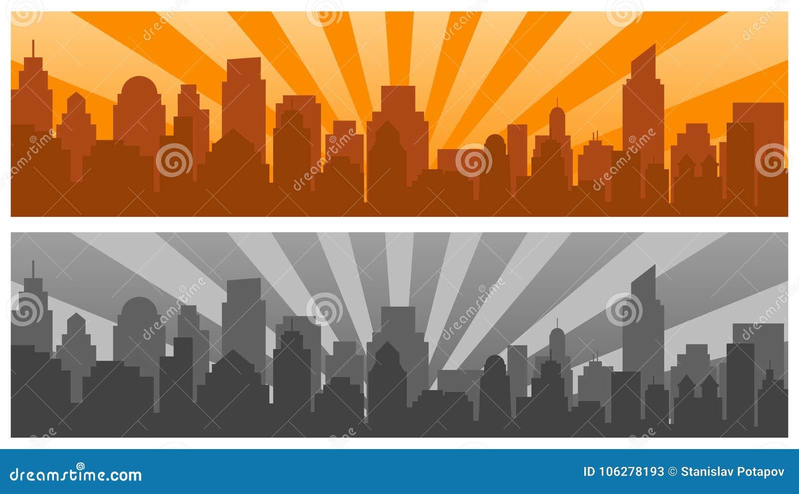 日出和现代剪影城市流行艺术样式的,两种颜色