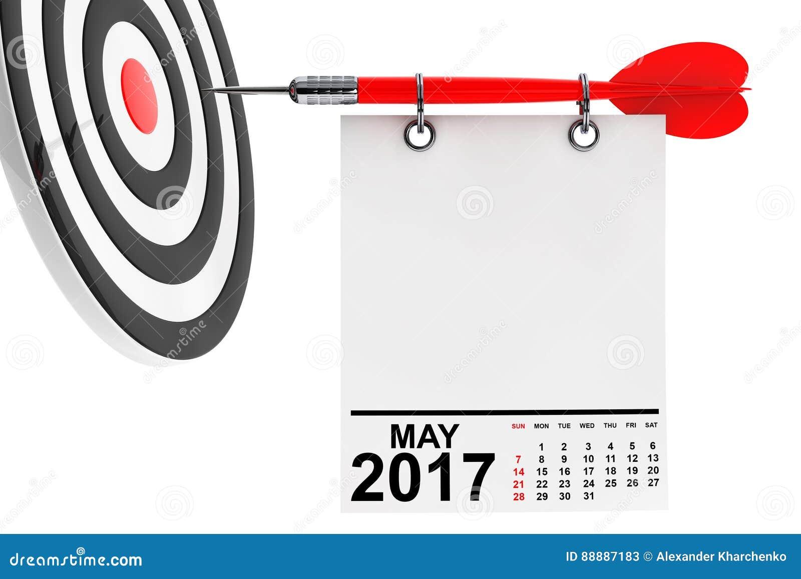 日历与目标的2017年5月 3d翻译