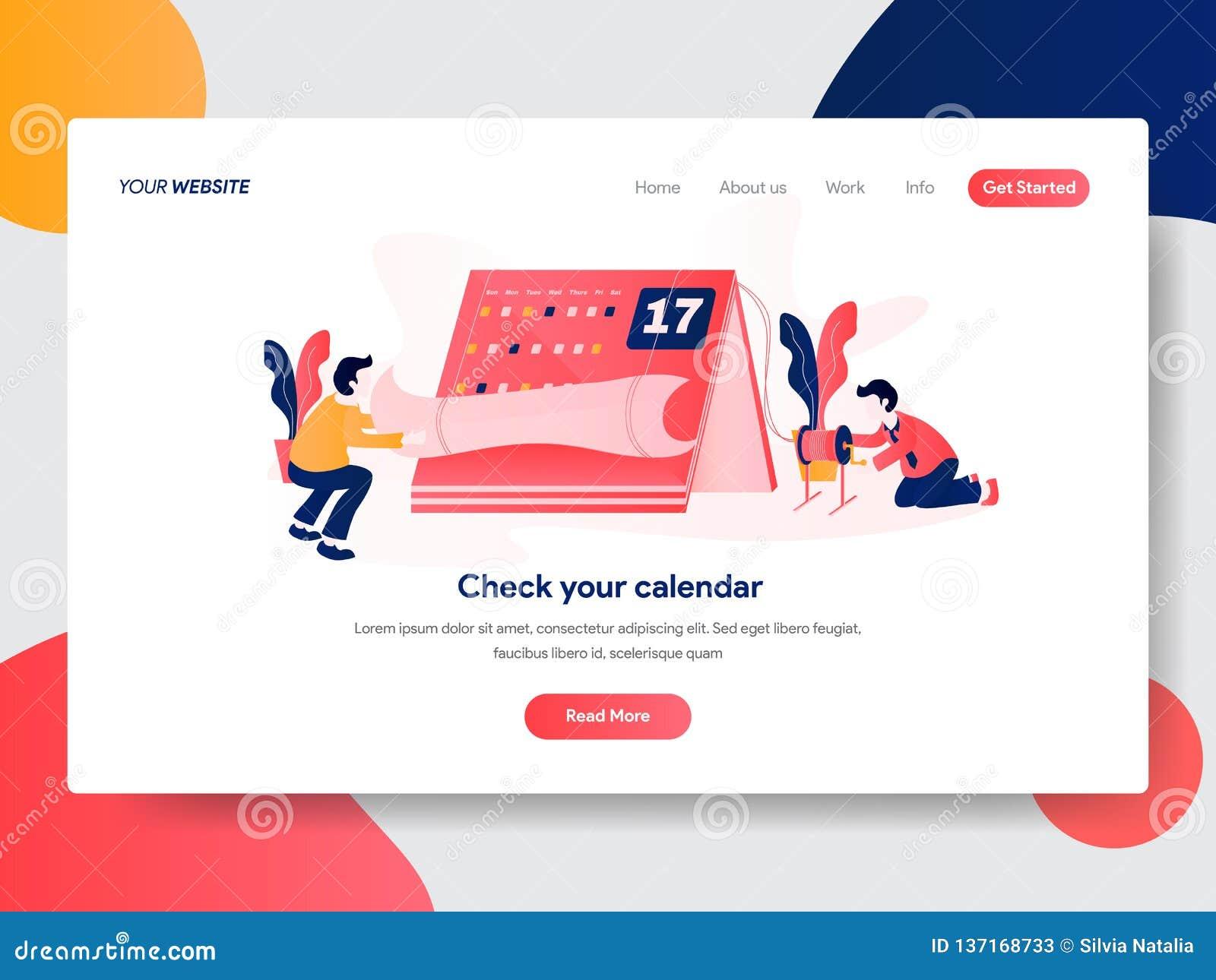 日历和任命概念登陆的页模板  网页设计的现代平的设计观念网站和机动性的