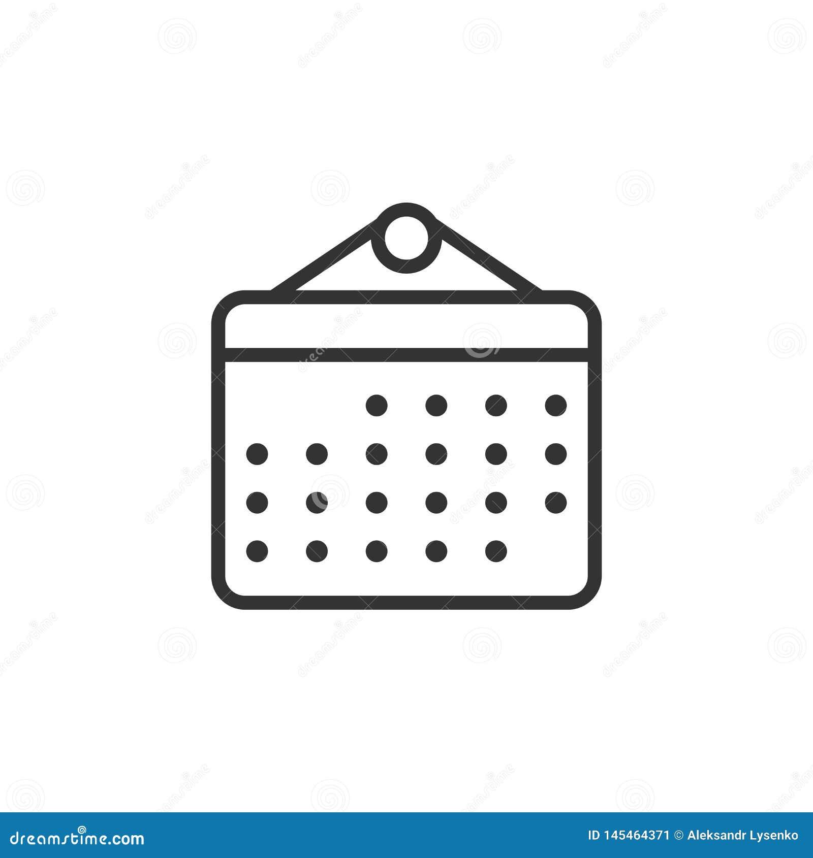 日历在平的样式的组织者象 任命事件在白色被隔绝的背景的传染媒介例证 月最后期限事务