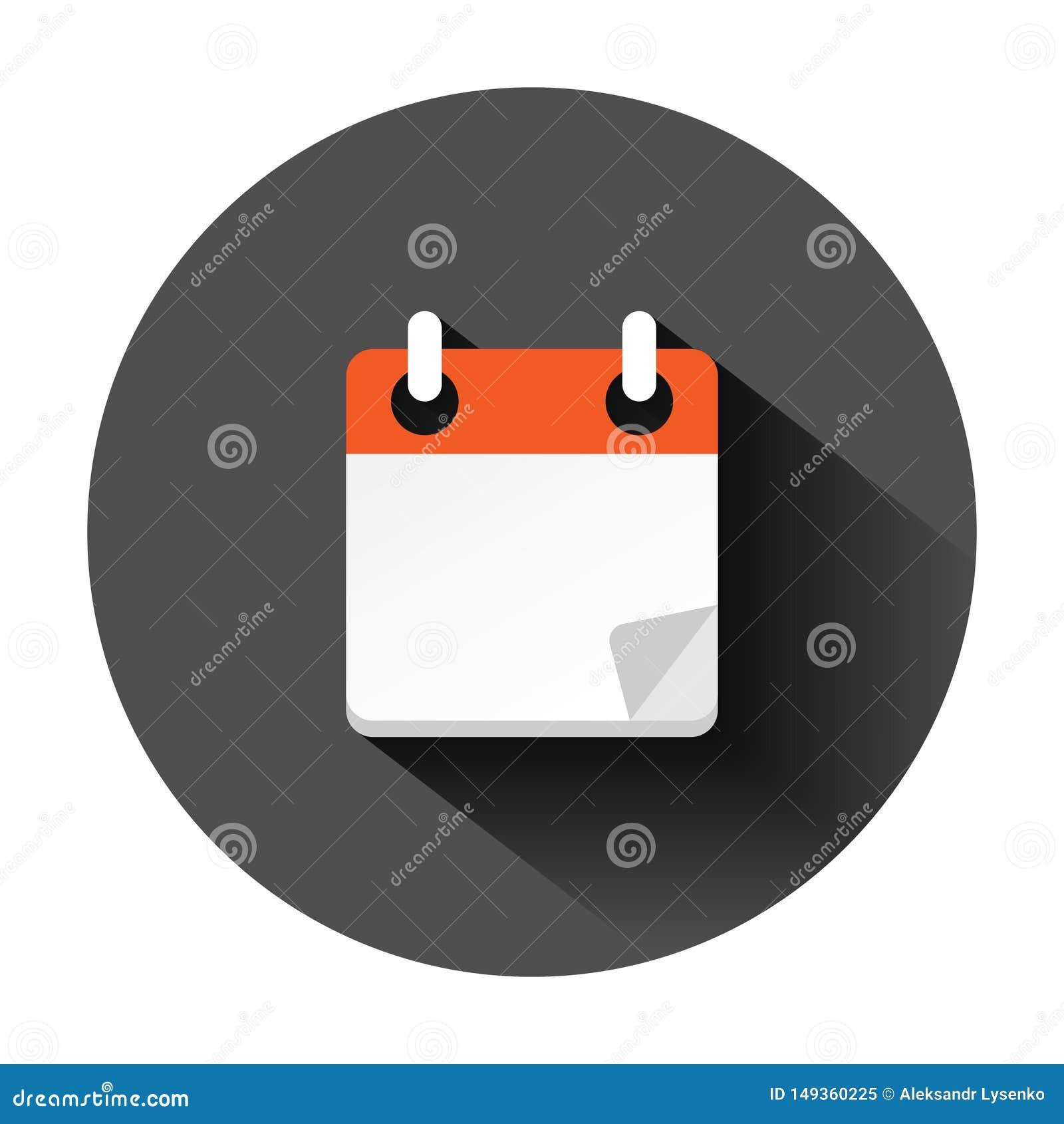 日历在平的样式的组织者象 任命事件在黑圆的背景的传染媒介例证与长的阴影 ?