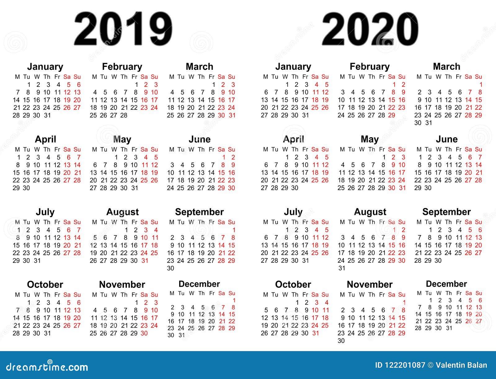 日历在2019年和2020年
