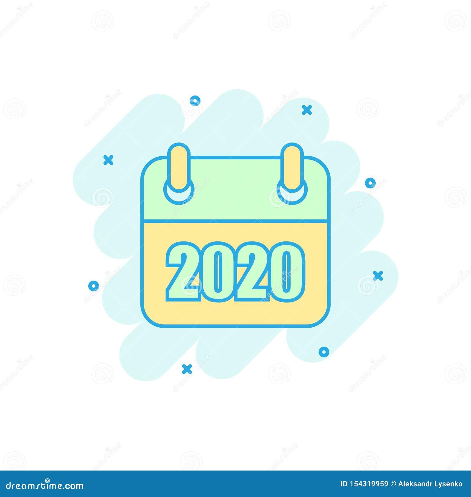 日历2020年在可笑的样式的组织者象 任命事件传染媒介在白色被隔绝的背景的动画片例证 ?