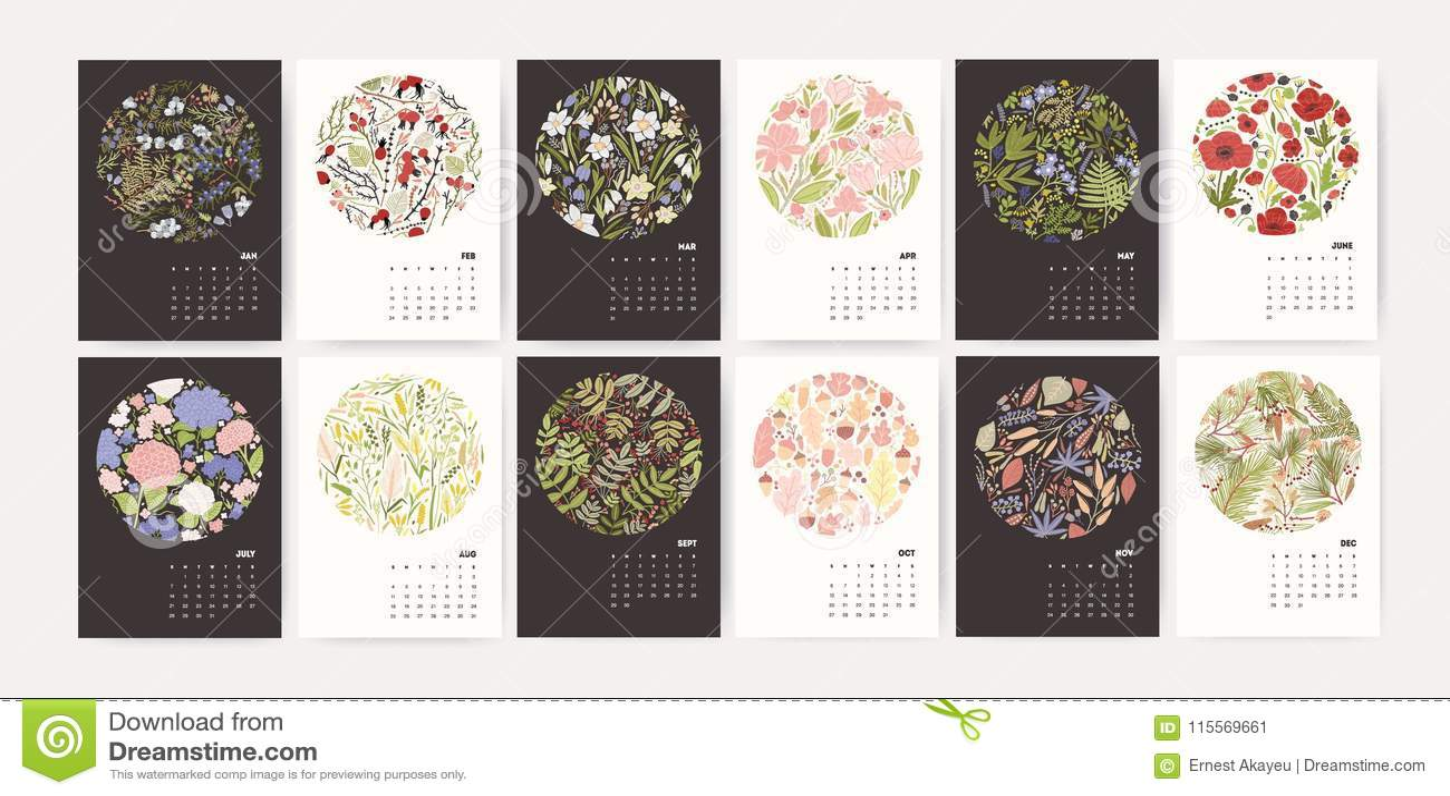 日历2019年 呼叫与圆的季节性花卉装饰元素的在黑白的模板和几个月