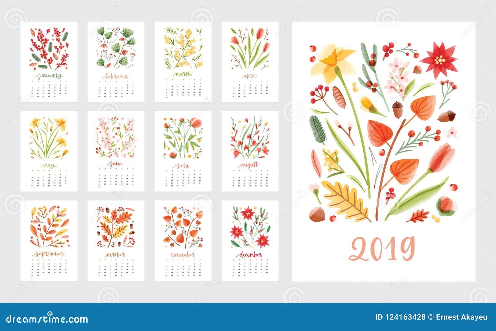 日历2019年 套用美丽的花和季节性植物与几个月装饰的页模板白色的