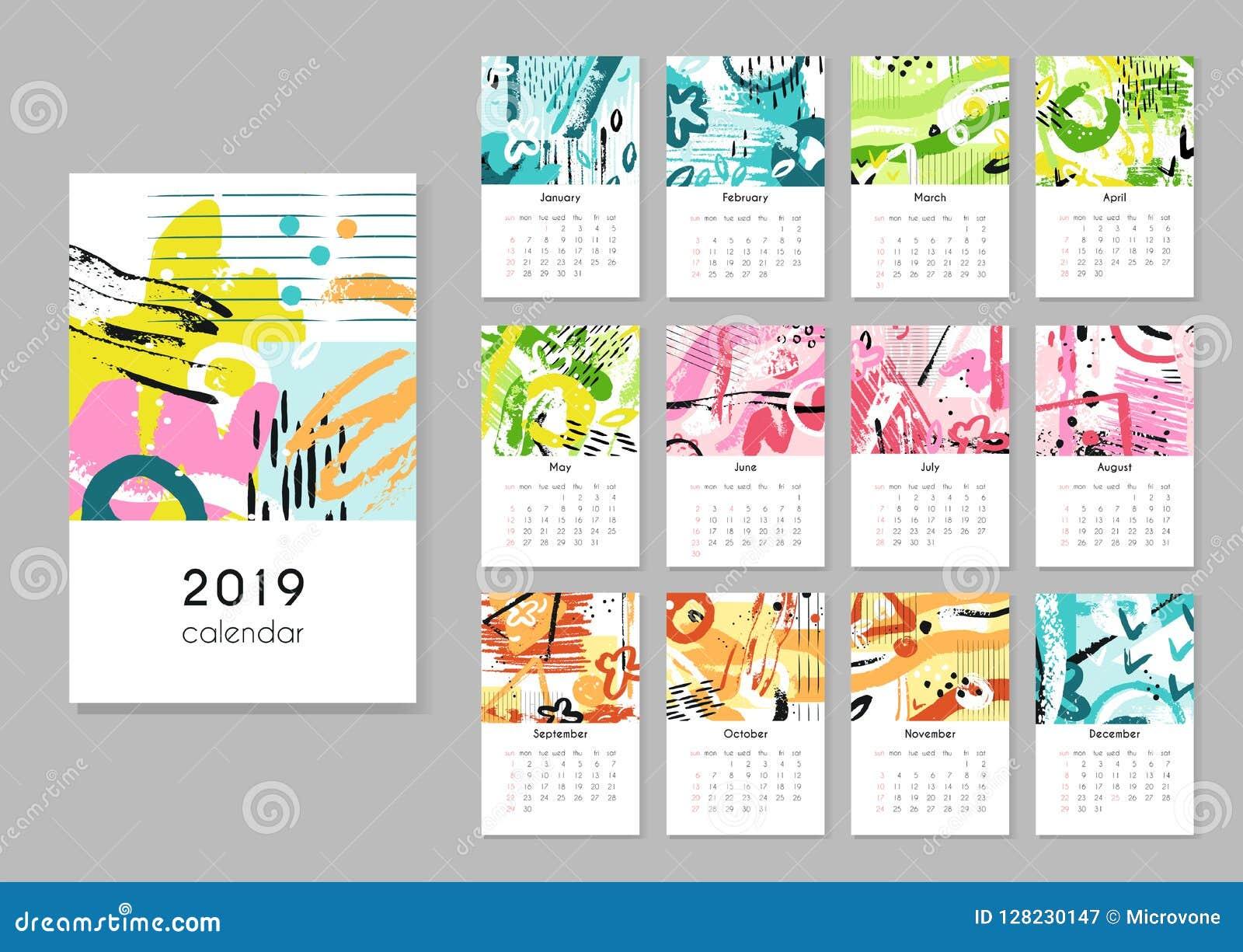 日历2019年 晒干拼贴画,抽象绘画现代创造性的可印的计划者 有日历栅格的传染媒介组织者