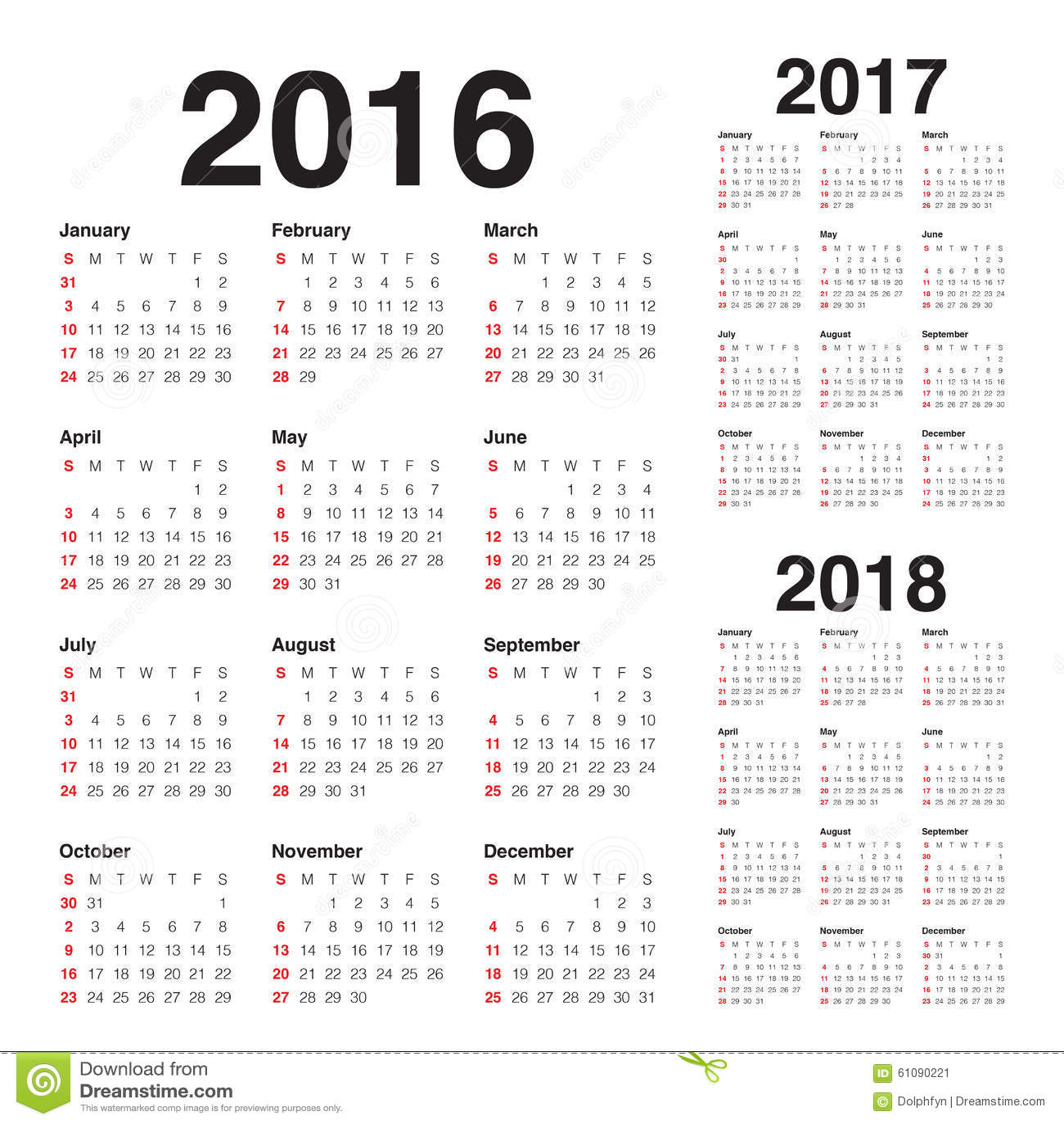简单的日历在2016 2017 2018年.图片