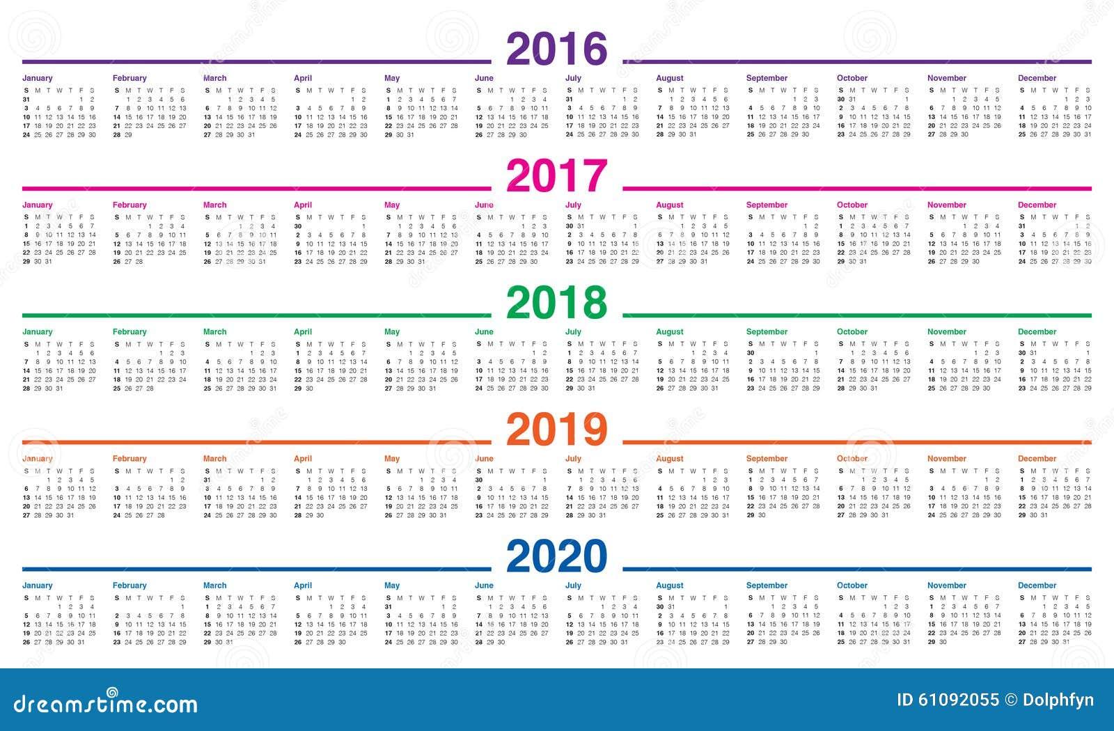 日历2016 2017 2018 2019 2020年