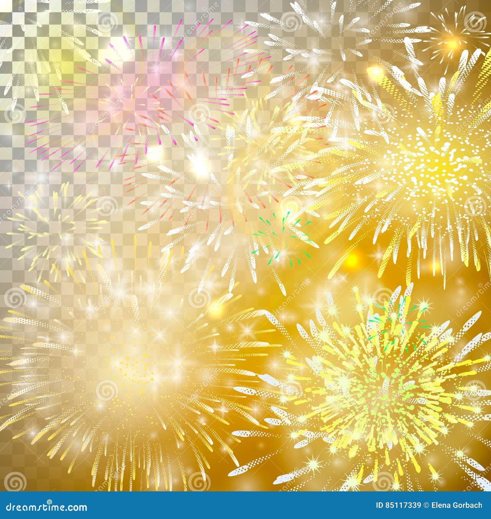 日对华伦泰向量的烟花例证s 与黄色和红色爆炸、爆炸和闪闪发光的现实抽象欢乐背景在tra