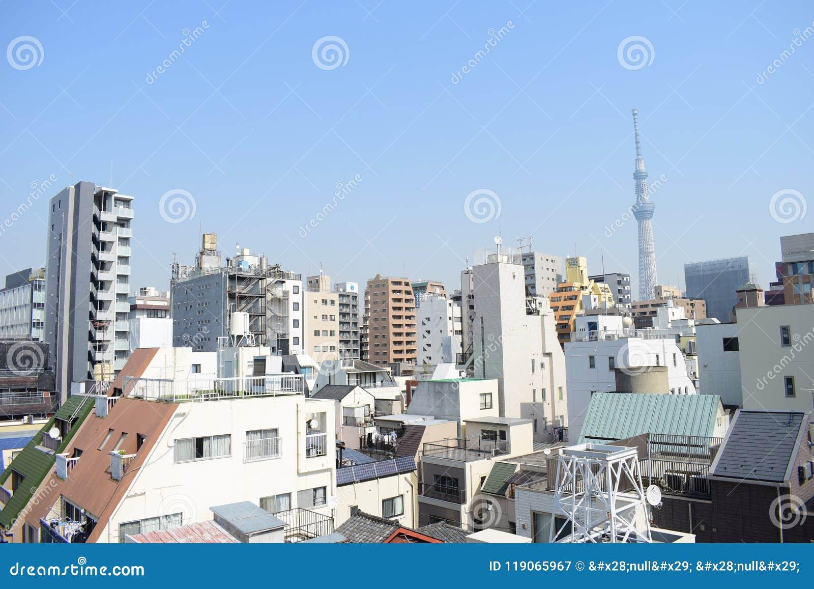日本东京概要、精妙的现代建筑学屋顶和skytree耸立