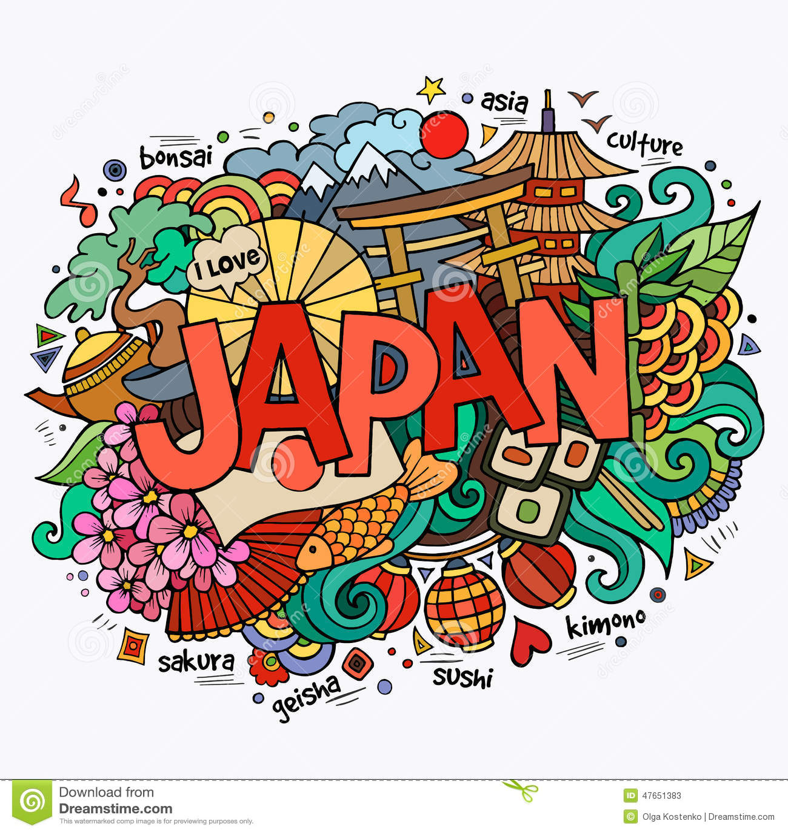 日本手字法和乱画元素图片