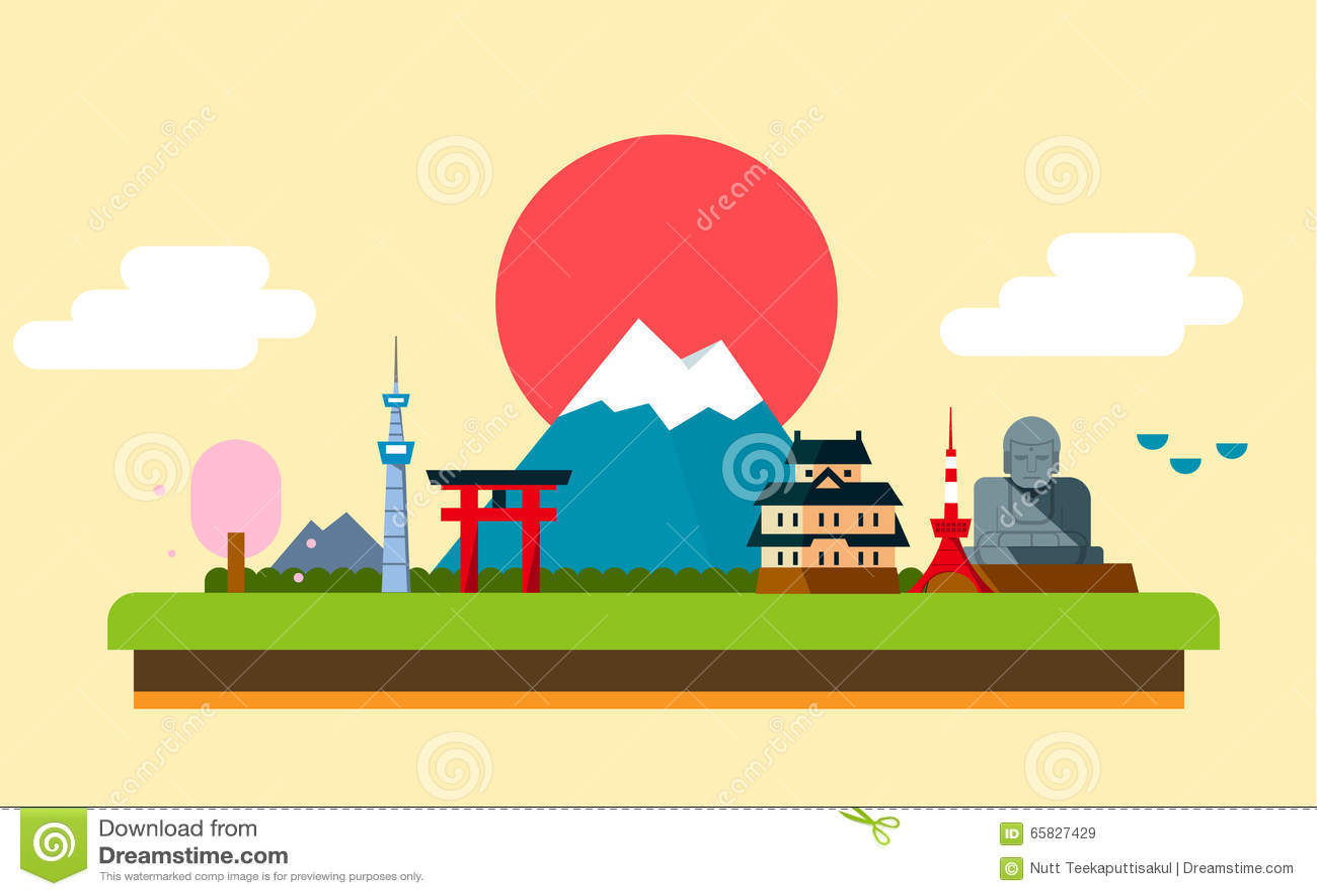 日本象设计旅行目的地概念,旅行设计模板汇集,传染媒介.图片
