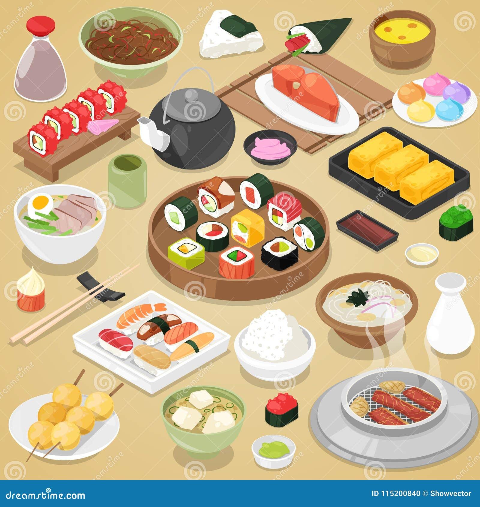 日本食物传染媒介吃寿司生鱼片卷或nigiri和海鲜用米在日本餐馆例证
