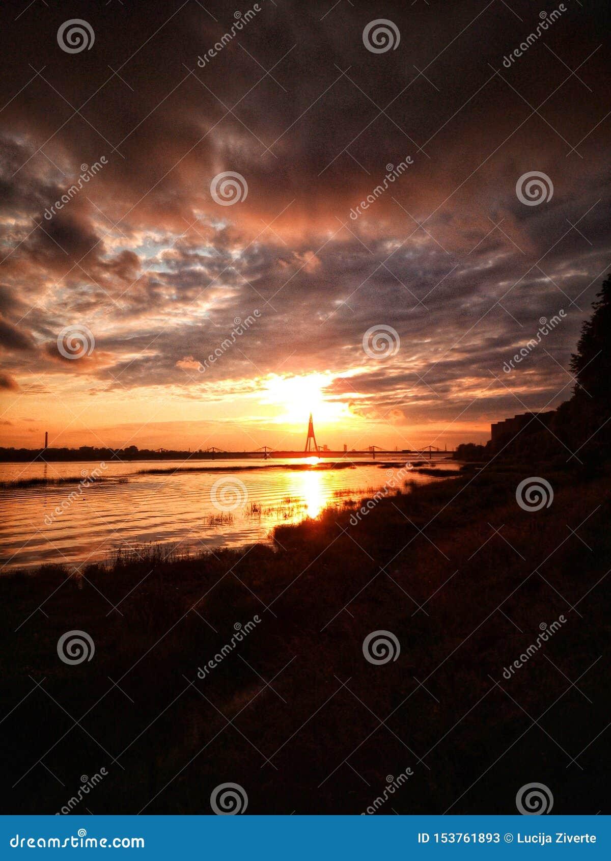 日落在里加,拉脱维亚,欧洲