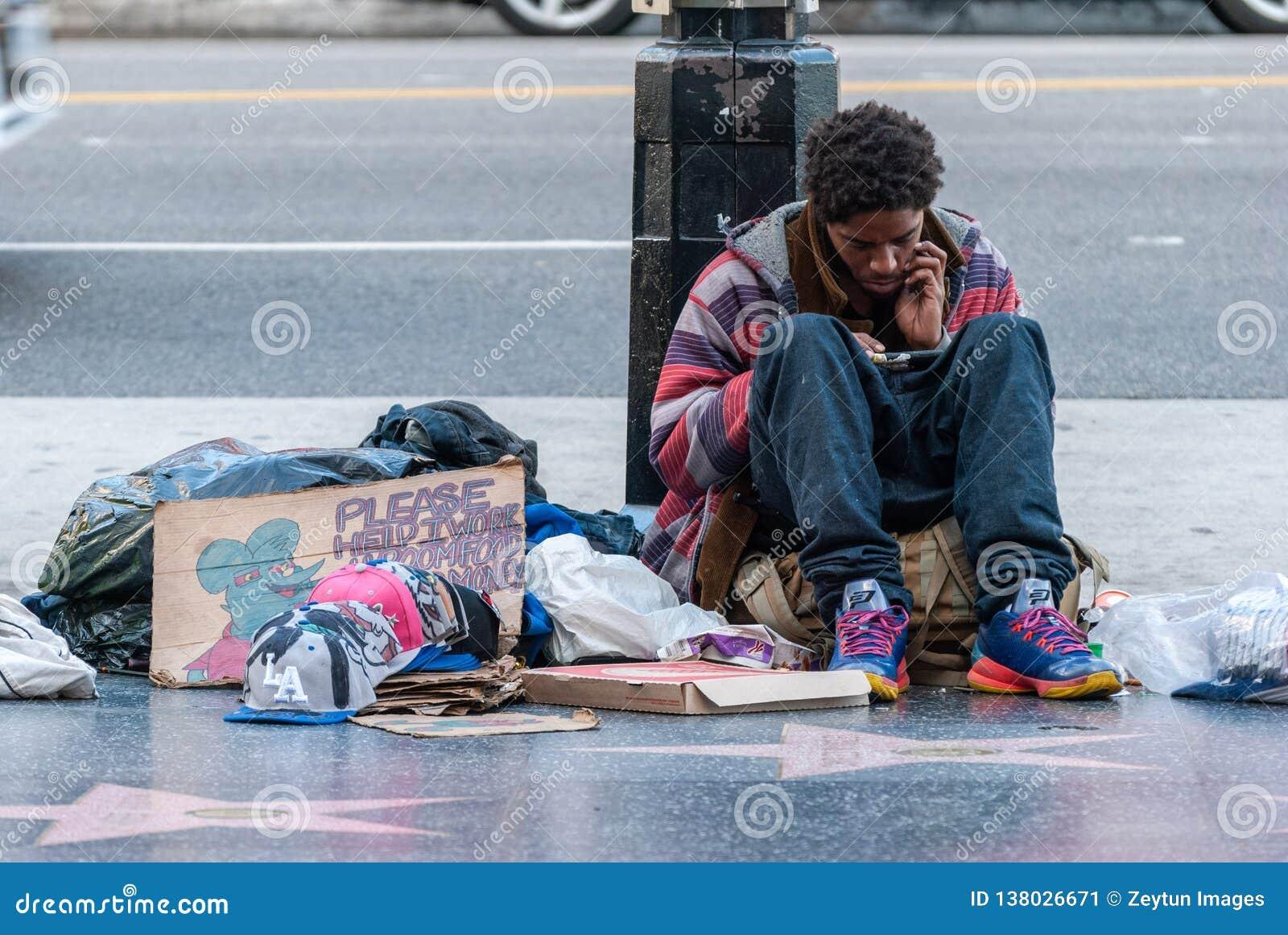 日落大道的无家可归的人在洛杉矶,加州