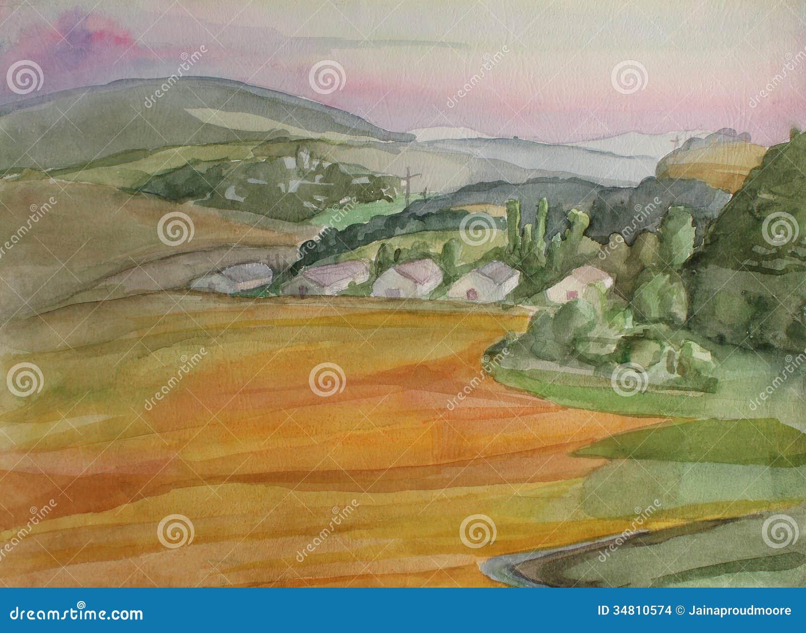 日落的图画村庄