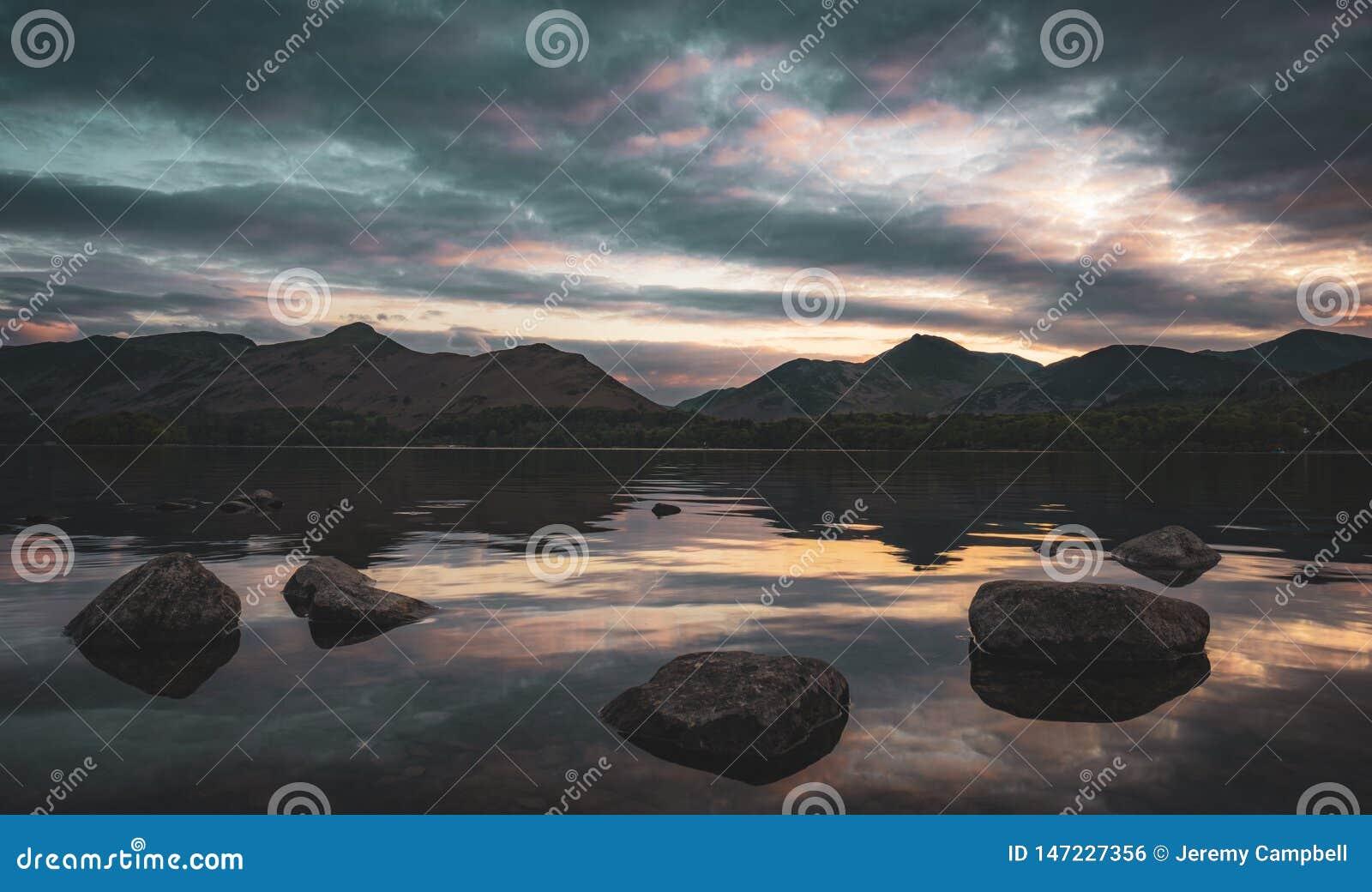 日落的德文特湖