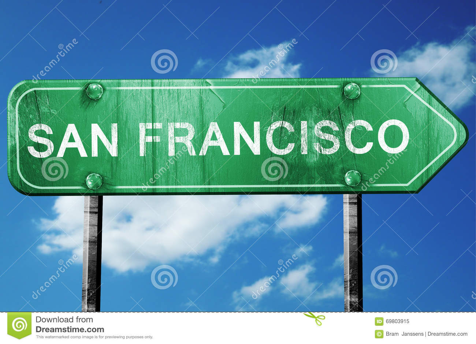 旧金山路标,被佩带的和损坏的神色