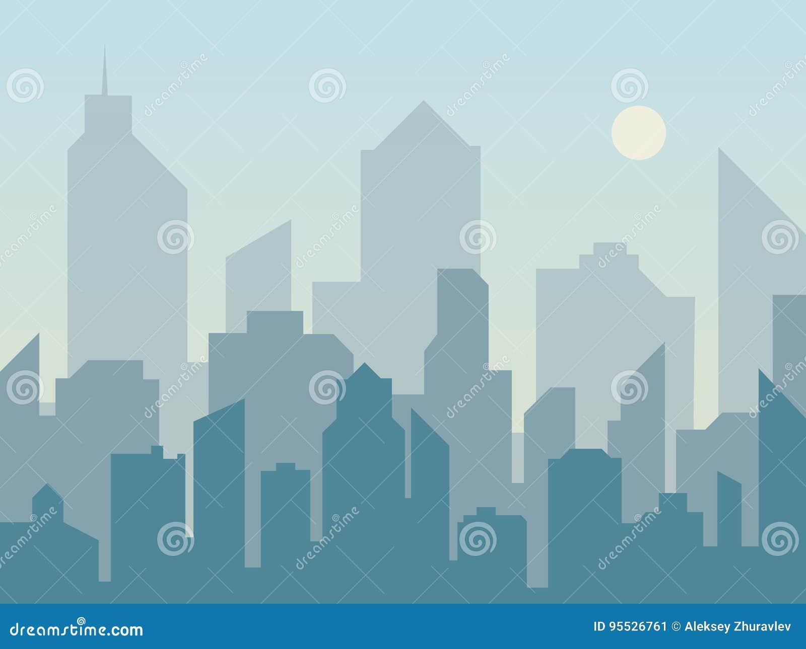 早晨城市在平的样式的地平线剪影 横向现代都市 都市风景背景