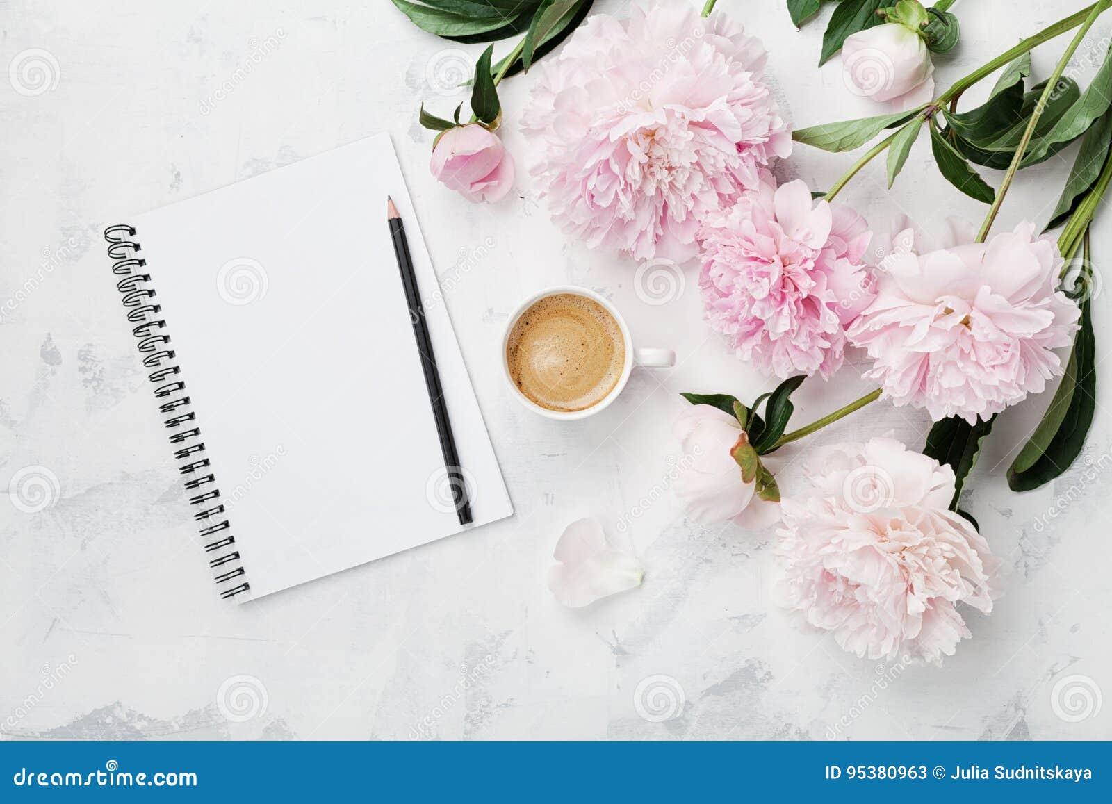 早晨早餐、空的笔记本、铅笔和桃红色牡丹的咖啡杯在舱内甲板位置样式的白色石台式视图开花