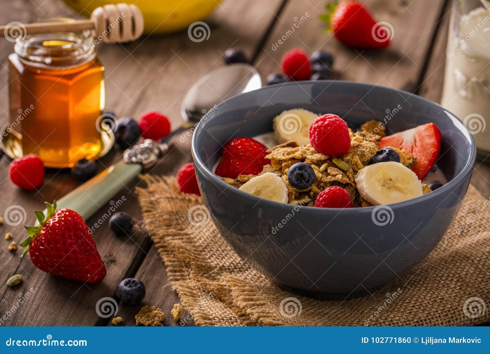 早餐谷物特写镜头风景