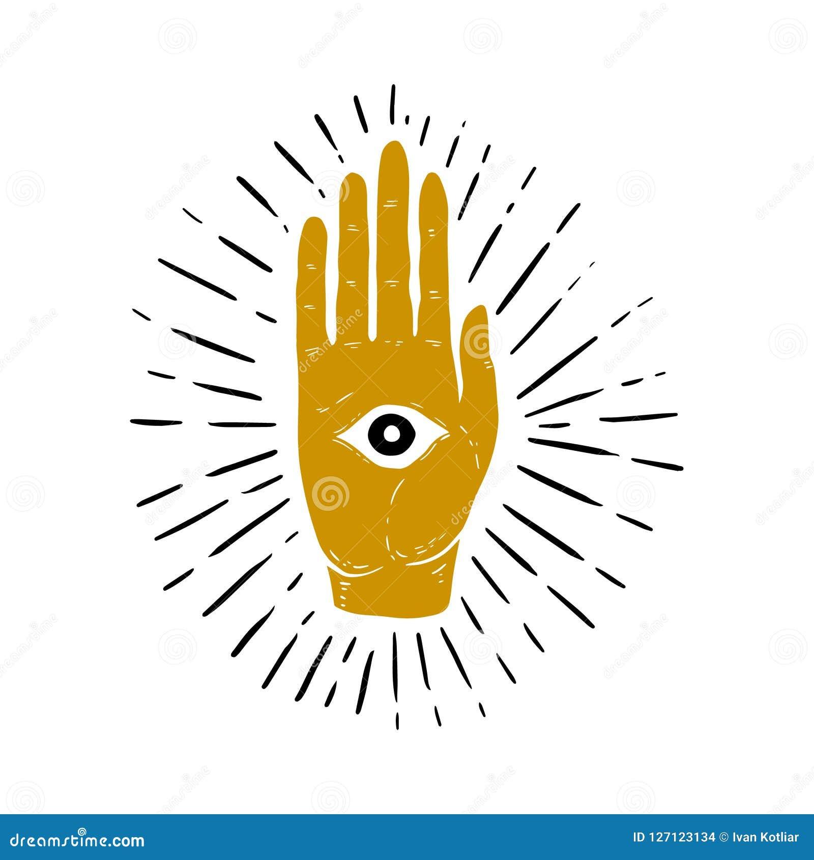 旭日形首饰、手和所有看见的眼睛标志的手拉的例证 背景眼睛上帝盾白色 共济会的标志