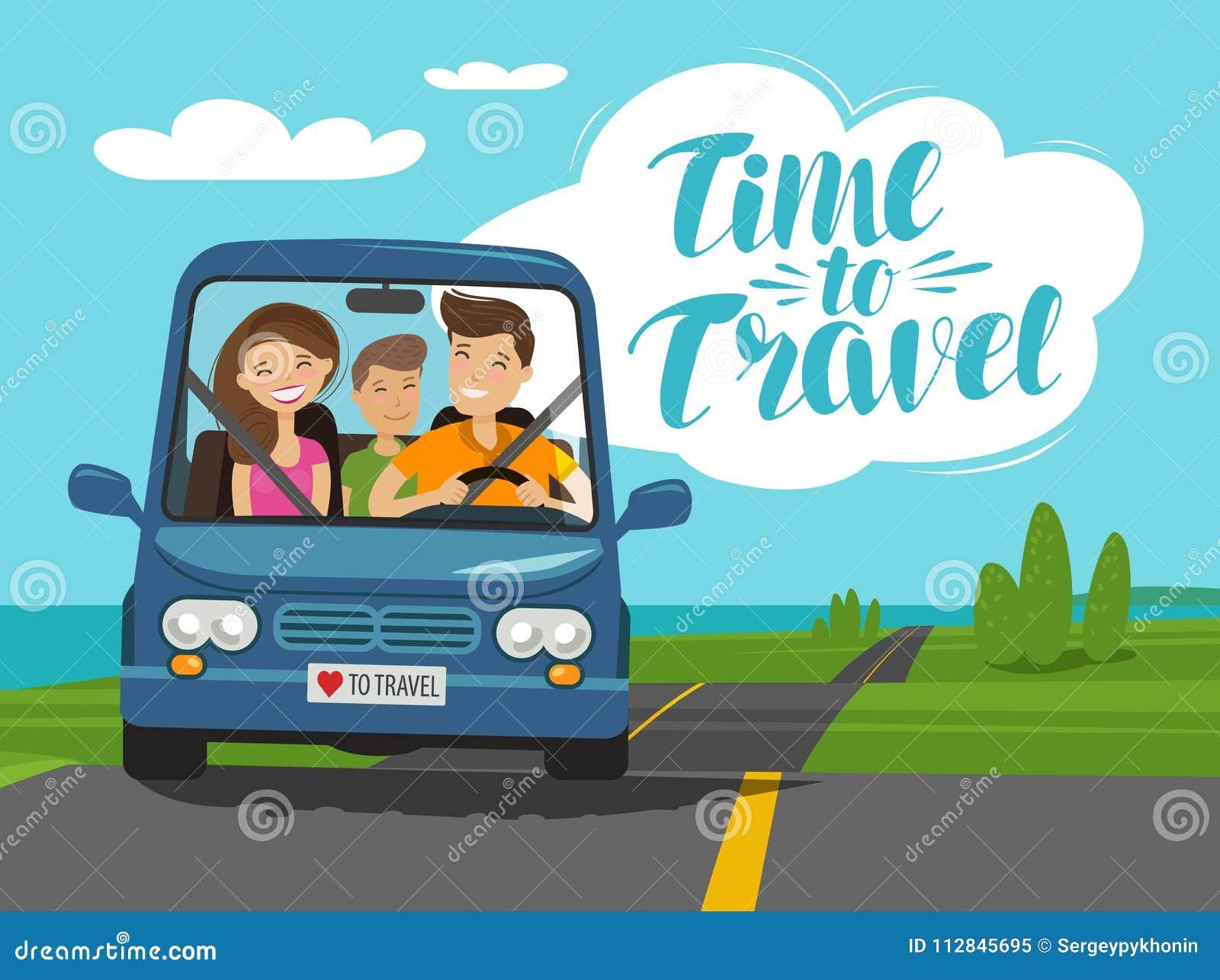 时刻旅行,概念 愉快的家庭在旅途乘坐汽车 外籍动画片猫逃脱例证屋顶向量