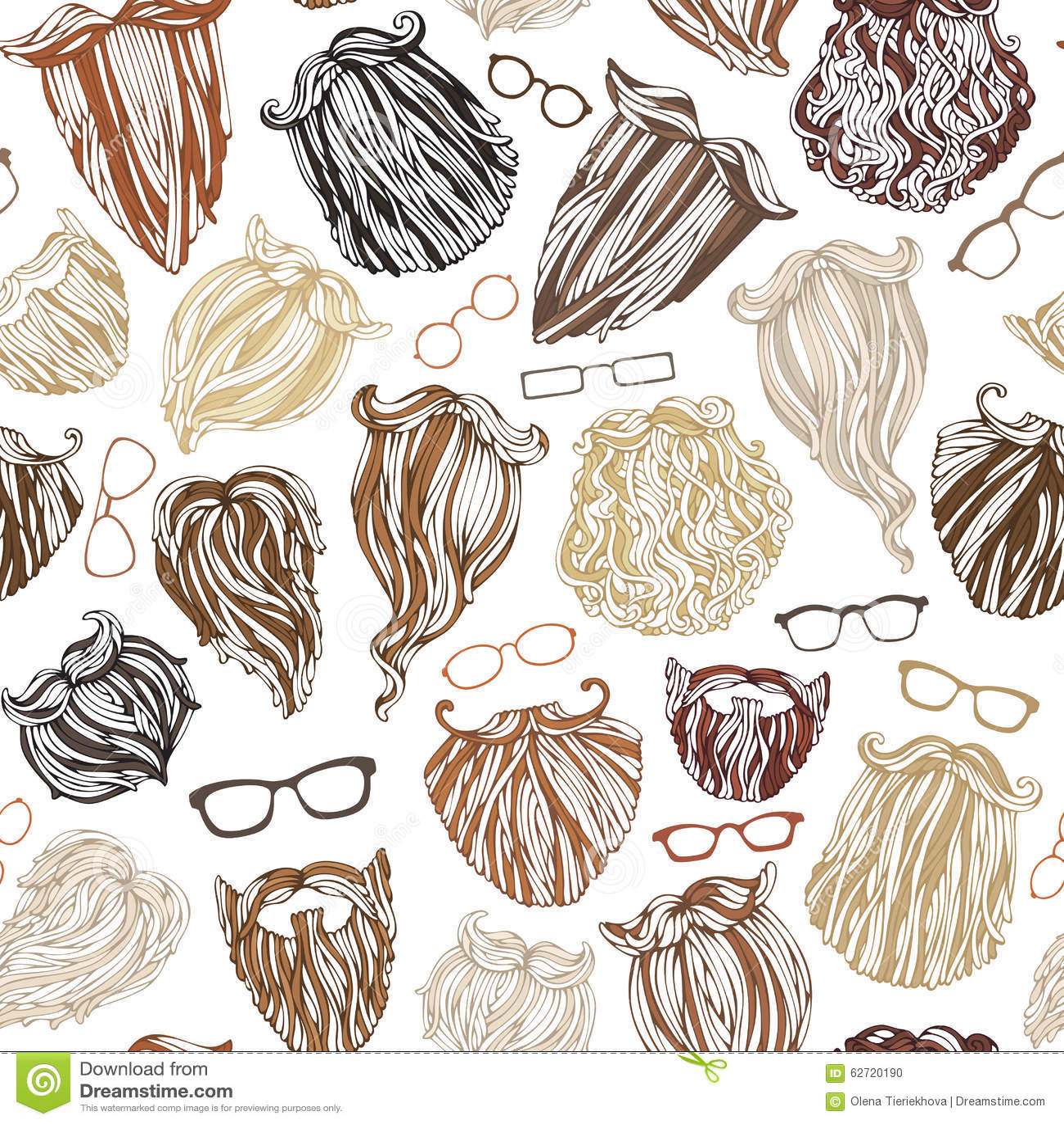 时尚人镜片和职责的胡子的糕点样式的无缝图片