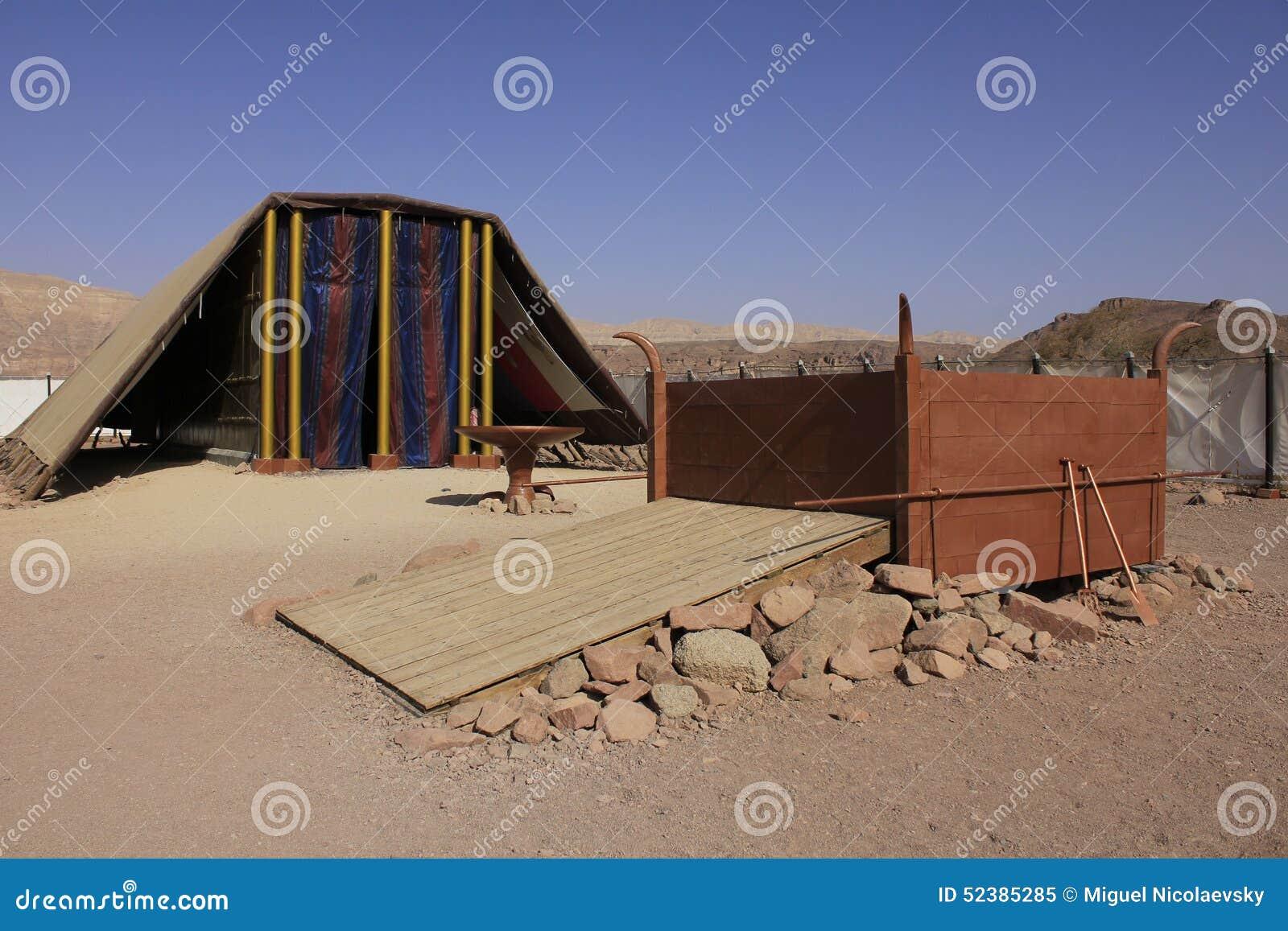 临时房屋的式样真正的大小在沙漠由以色列的人民builded在摩西指令下