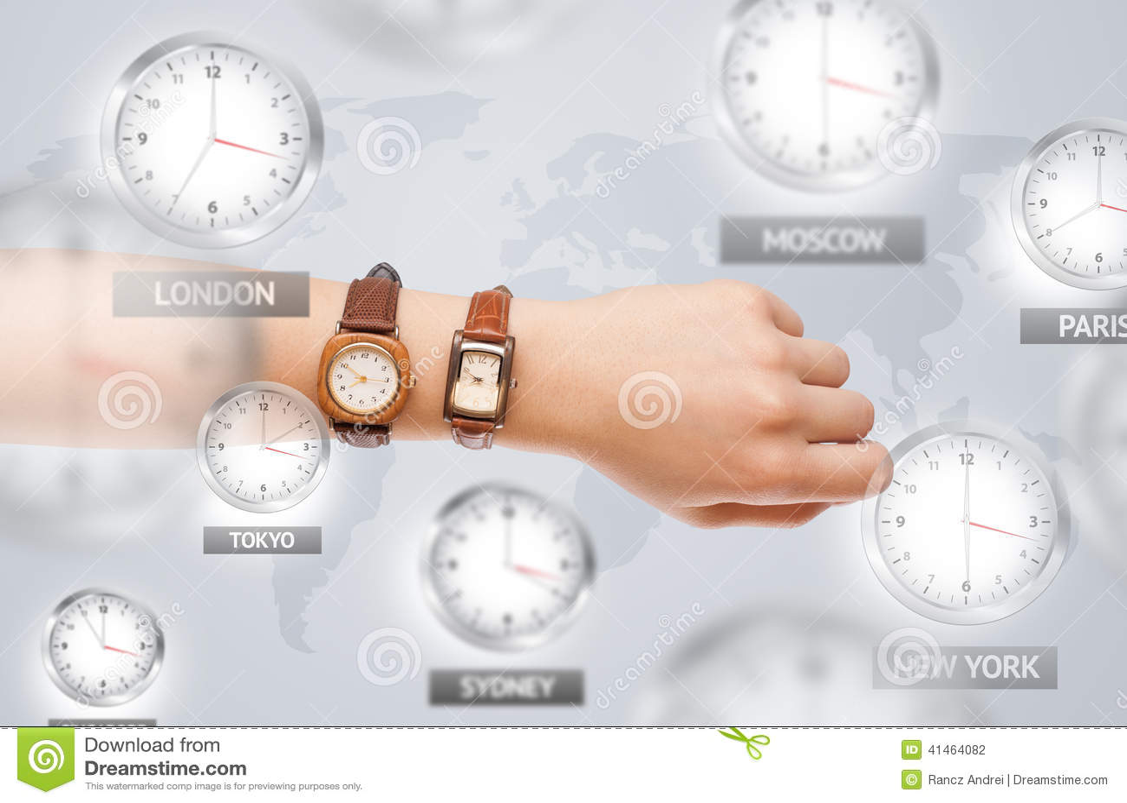 时钟和时区在世界概念