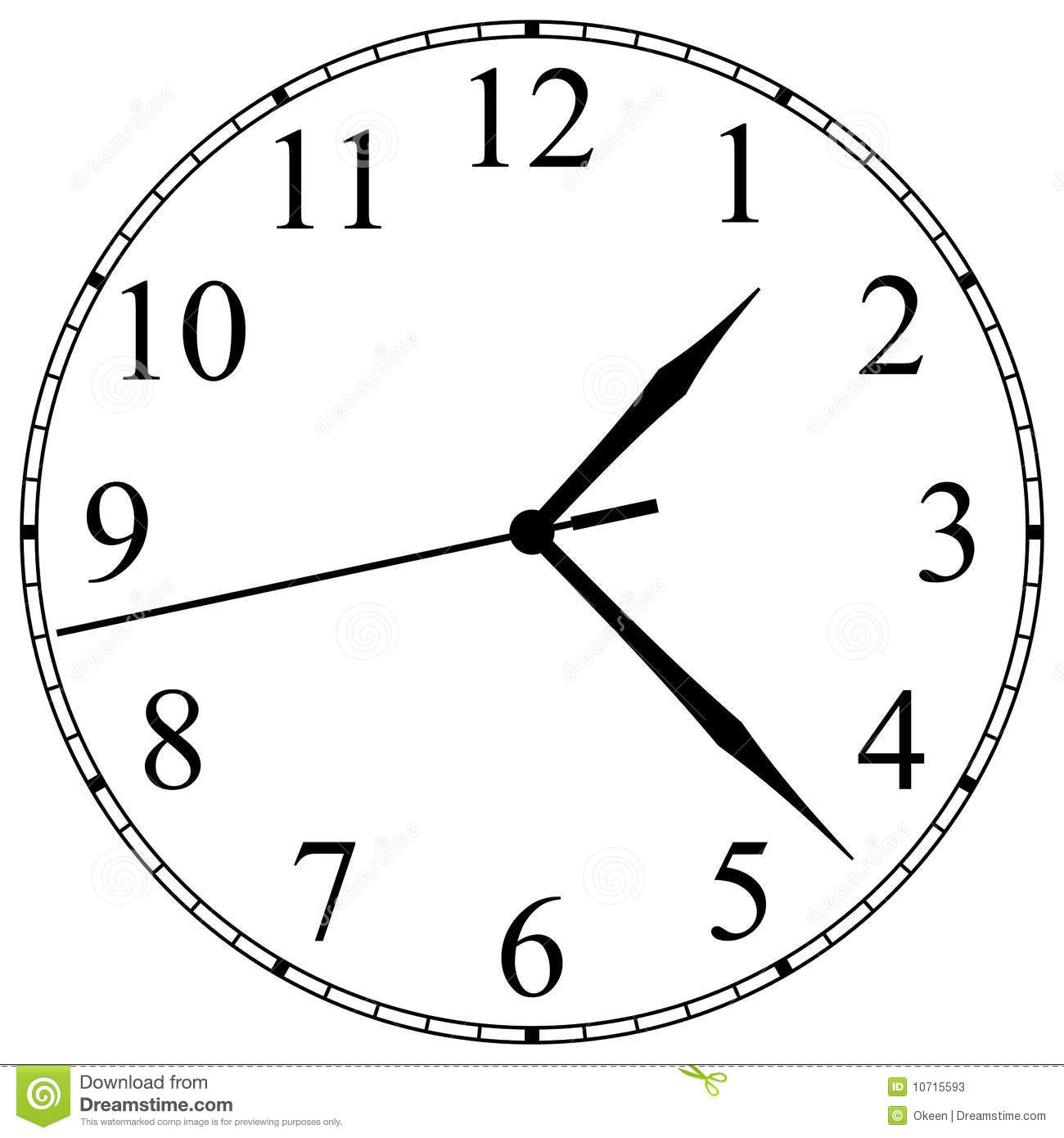 Line Drawing Clock Face : 时钟表盘
