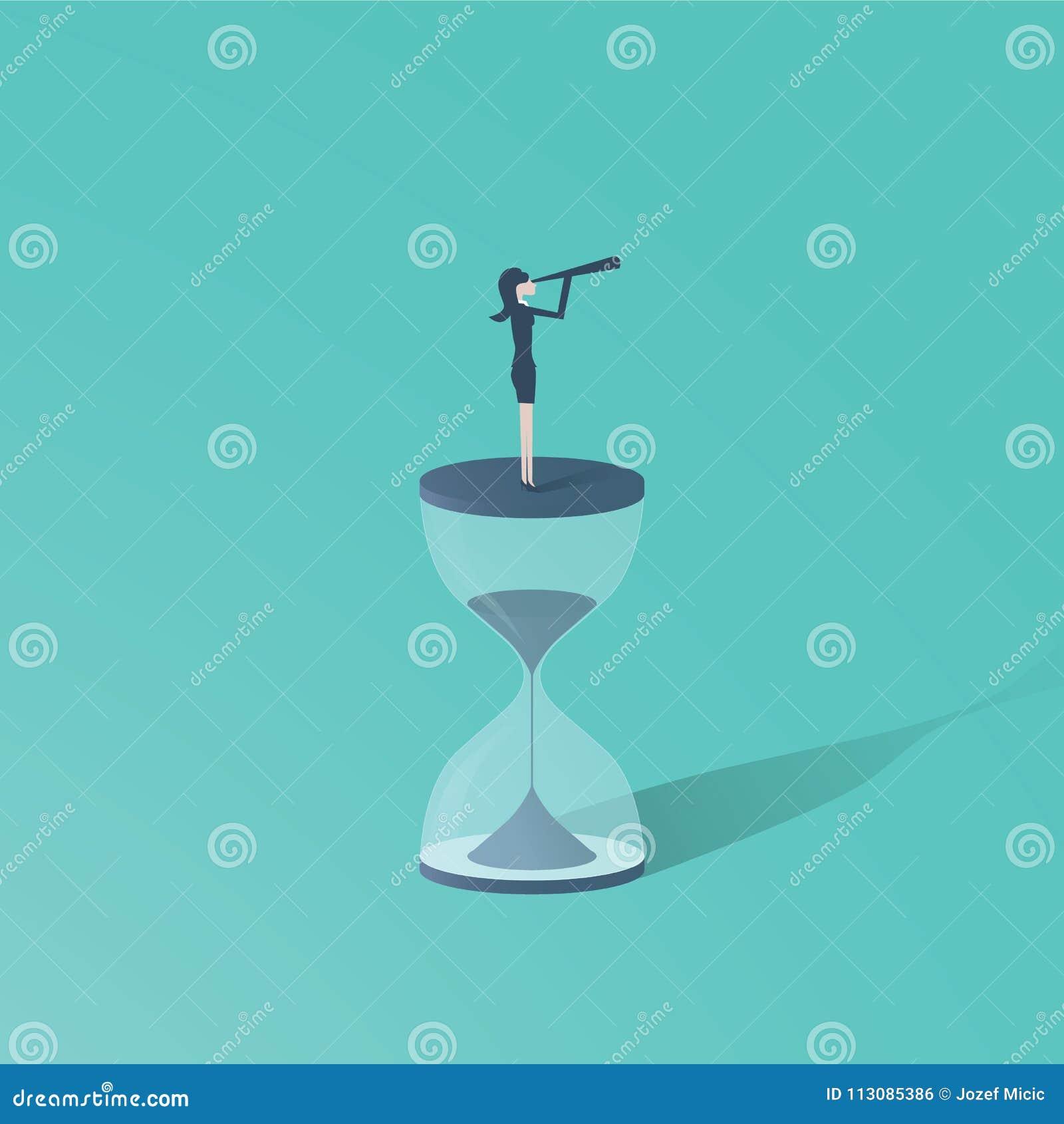 时间到与站立在沙子时钟或滴漏顶部的妇女的运动有望远镜的 未来的标志妇女的