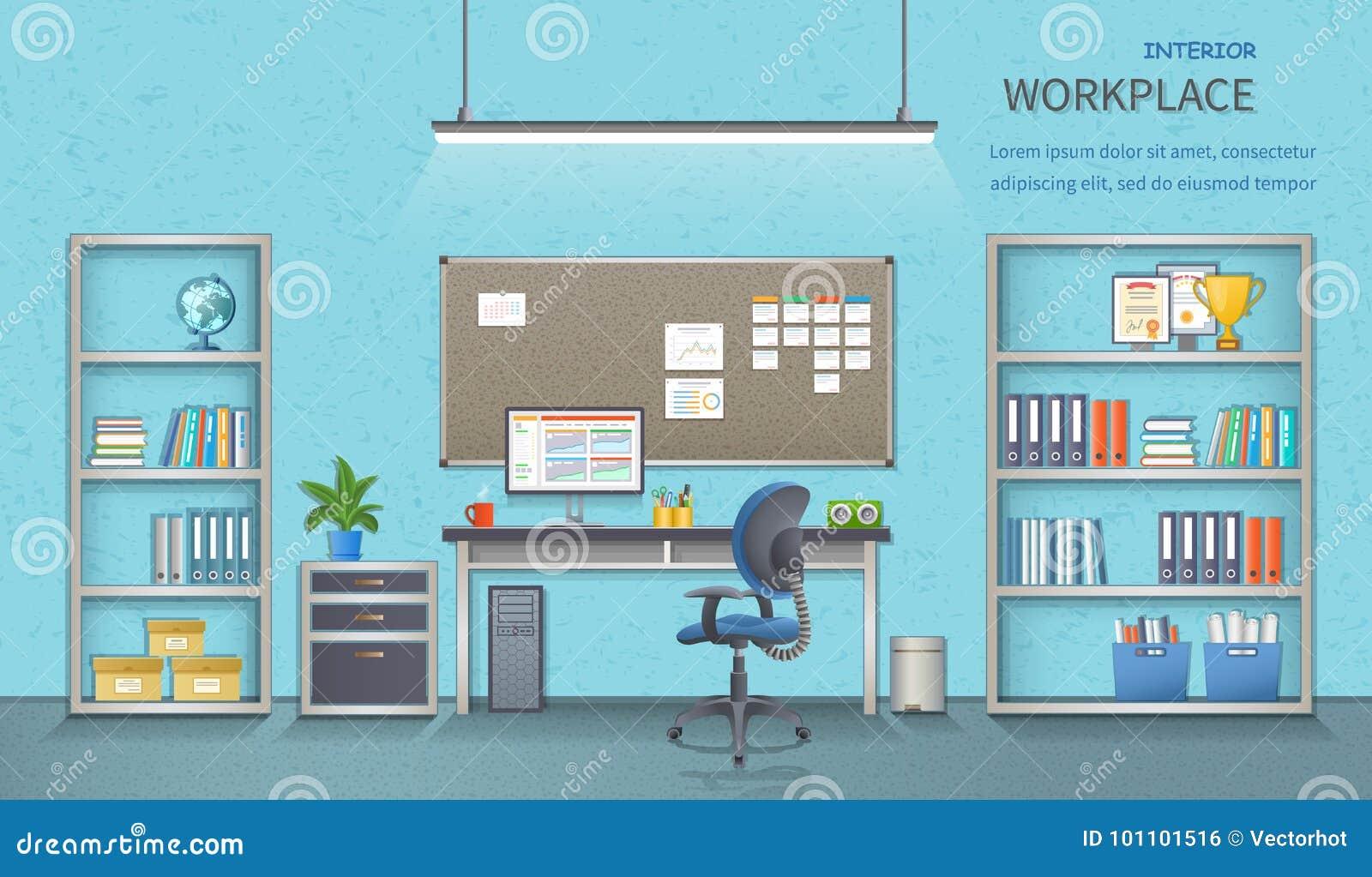 时髦和现代办公室工作场所 与书桌的室内部 另外的背景企业格式