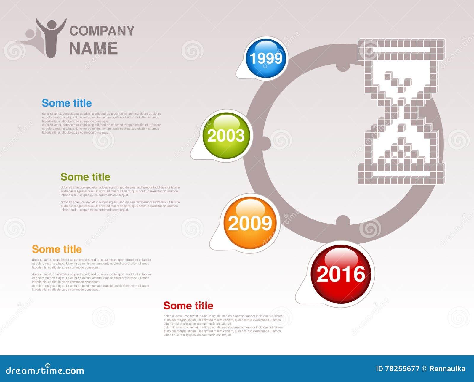 时间安排 公司的Infographic模板 与蓝色五颜六色的里程碑的时间安排-,绿色,橙色,红色 单独ye的尖