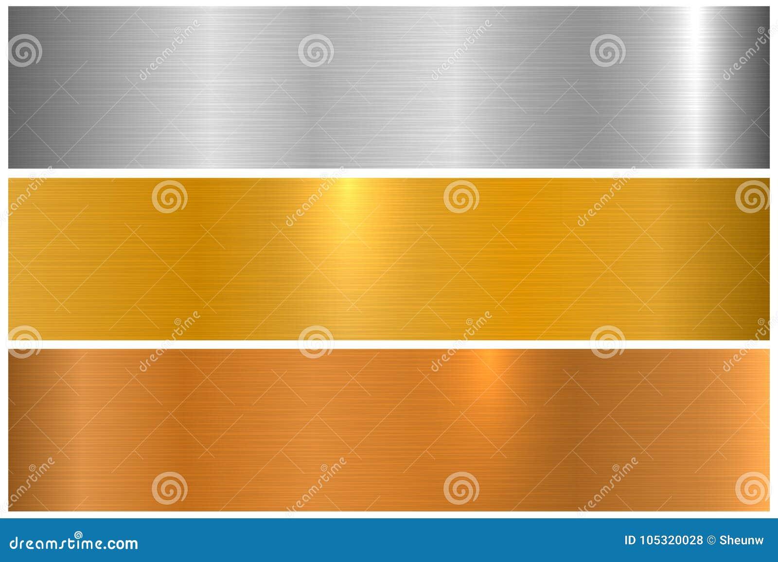 明亮的五颜六色的金属纹理的汇集 发光的优美的金属横幅