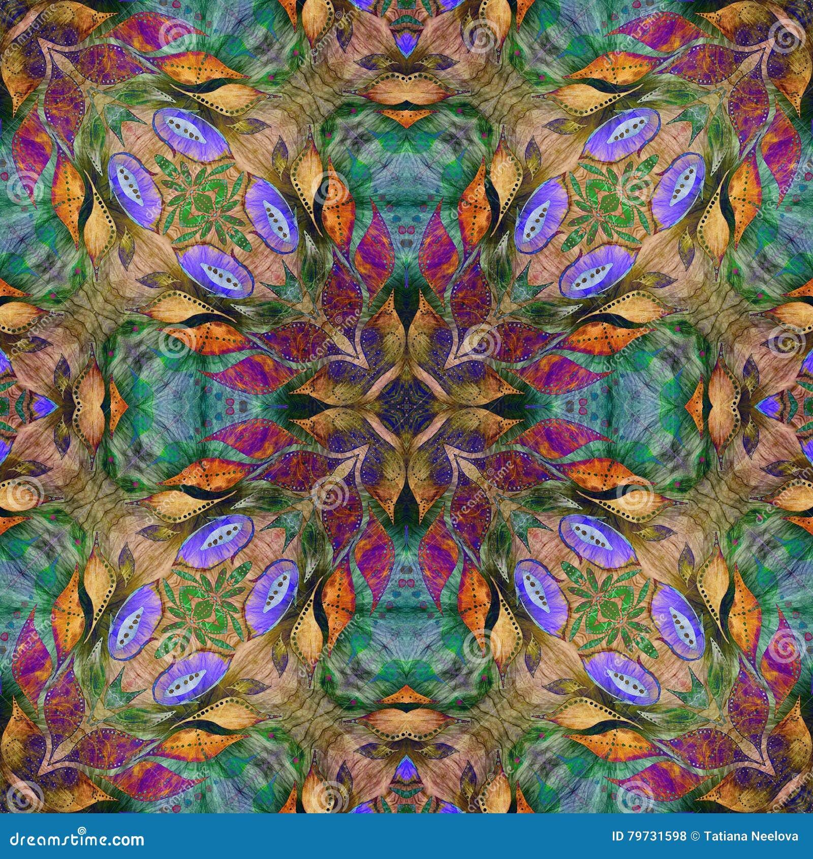 明亮的无缝的难看的东西五颜六色的种族印地安样式 与手工制造水彩的拼贴画弄脏,瓣、叶子和花 细麻花布