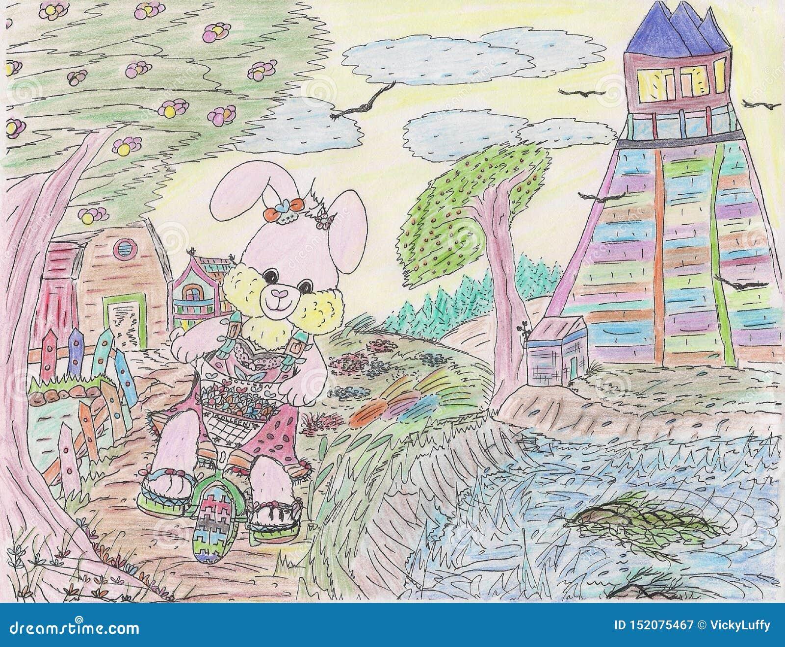 明亮的有吸引力的颜色剪影愉快微笑的女孩小兔循环