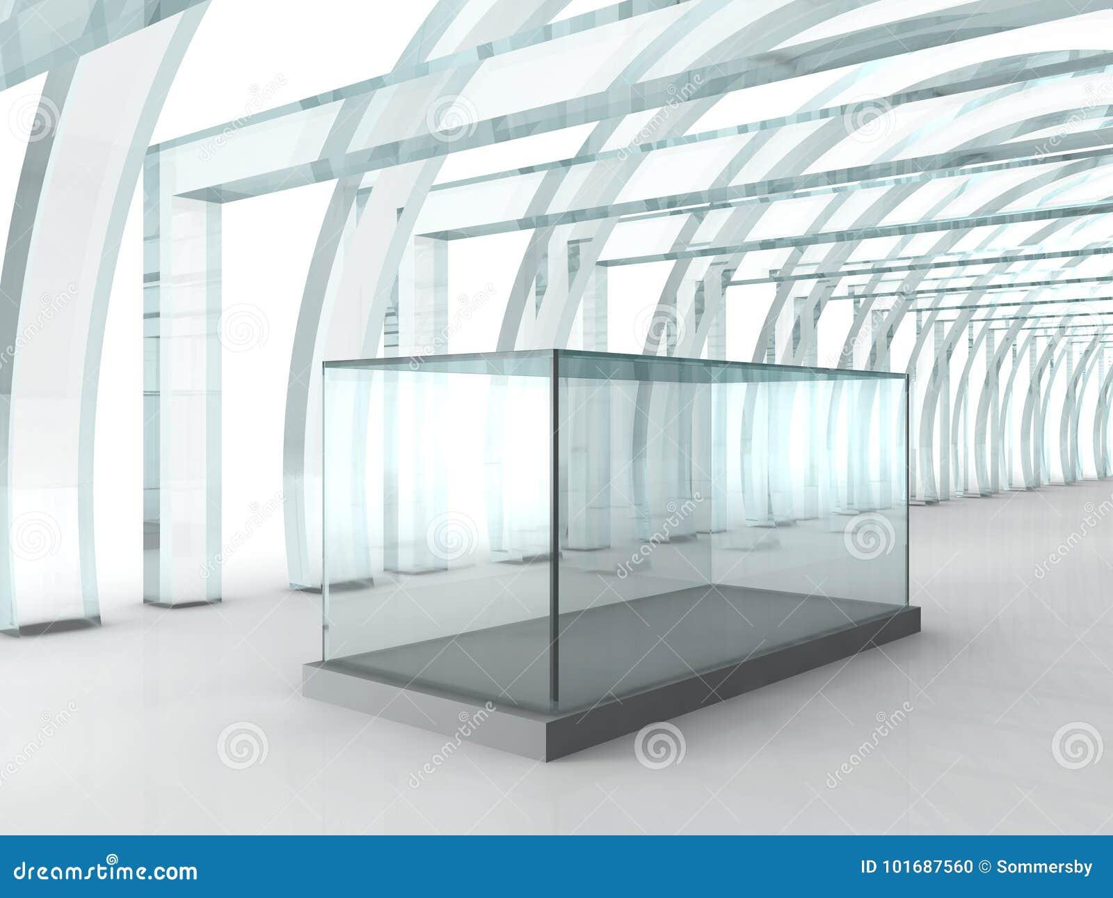 明亮的玻璃走廊或隧道有玻璃箱子的陈列的