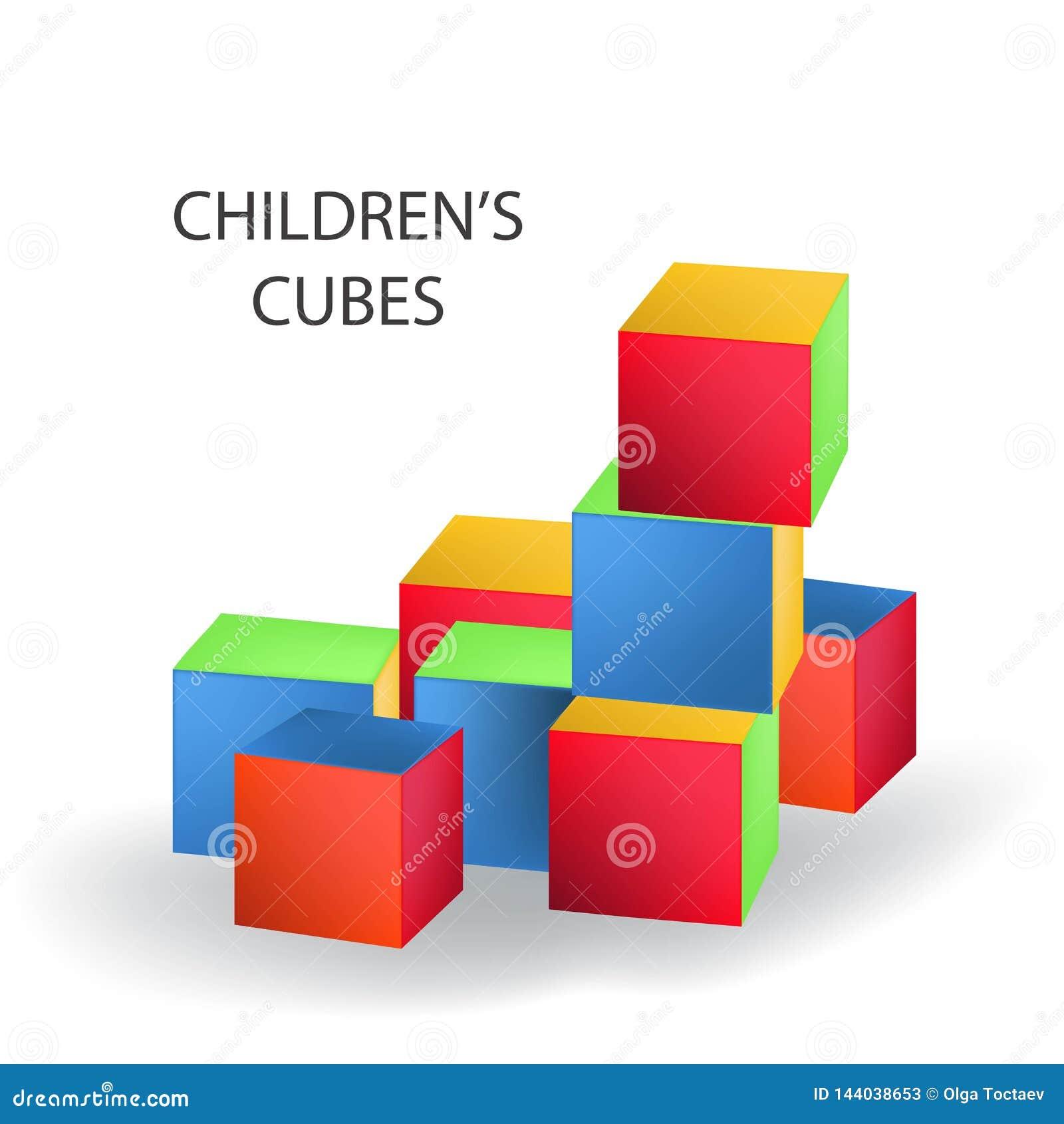 明亮的色的砖瓦房塔 r 您自己的设计的空白的立方体