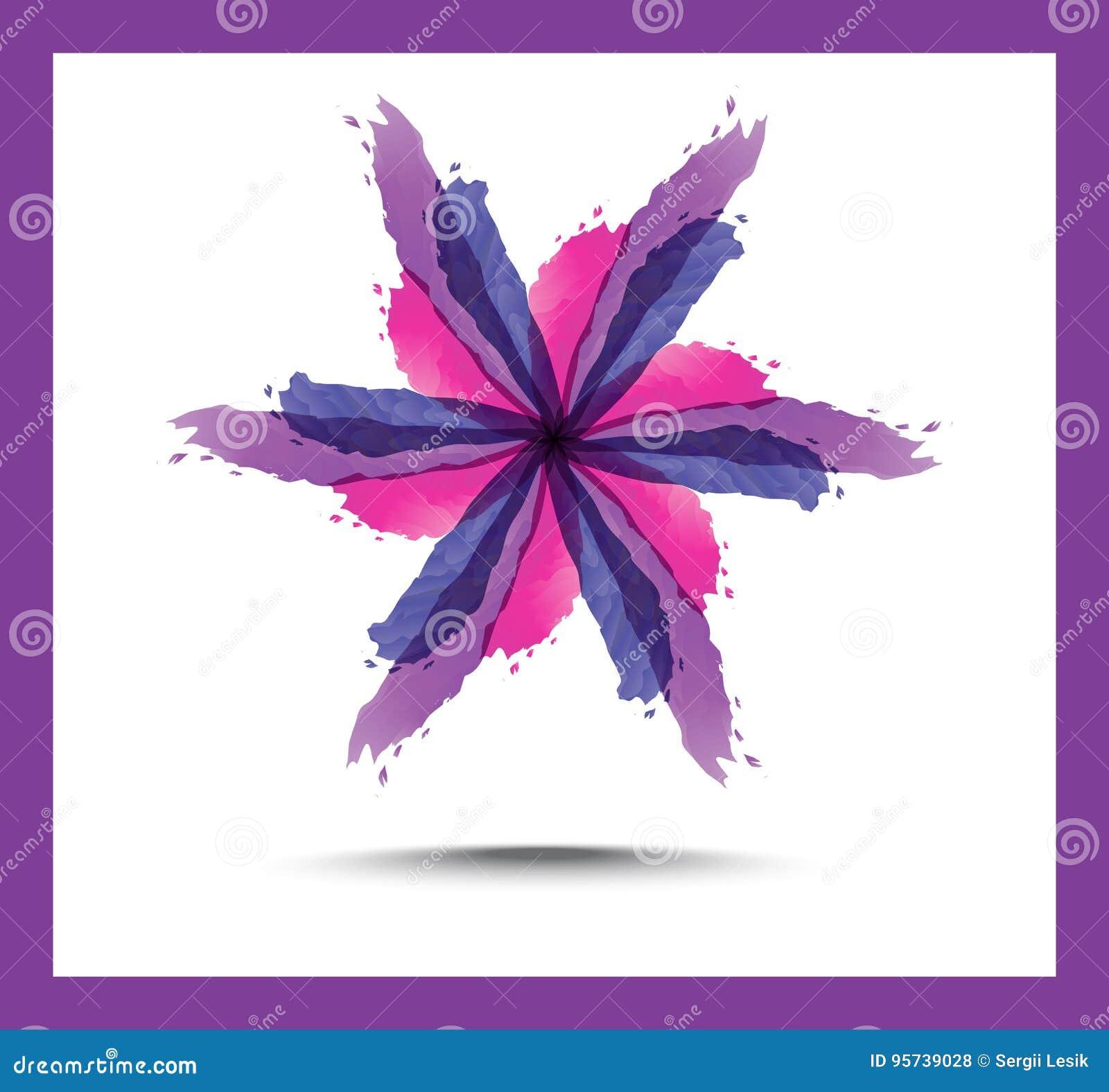 明亮的花卉抽象背景 紫色开花百合、装饰的圈子和漩涡