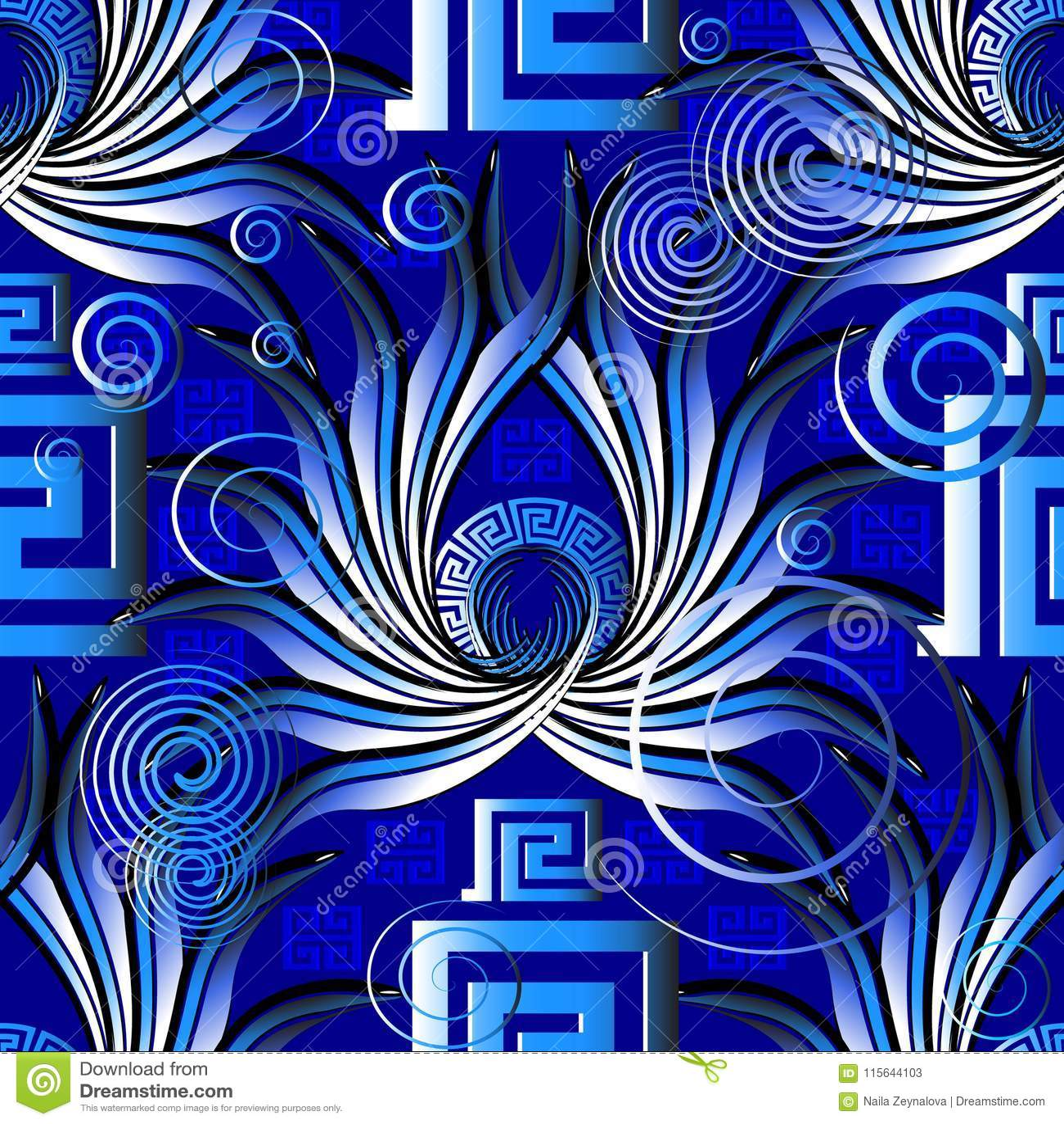 明亮的蓝色希腊抽象传染媒介无缝的样式 现代ornam